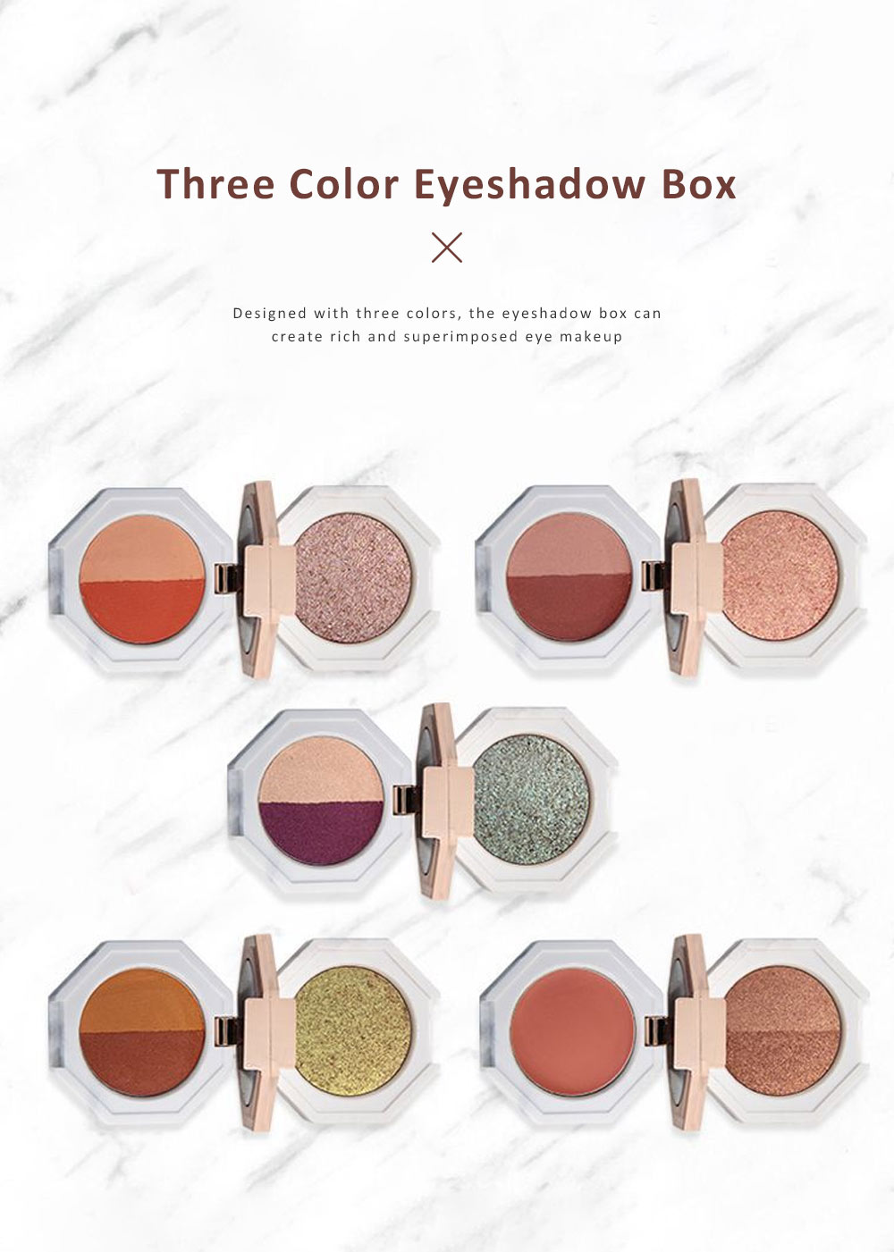 Double Layered Eyeshadow Box Marble Surface Matte and Shimmer Foldable Eye Shadow Powder Makeup 1