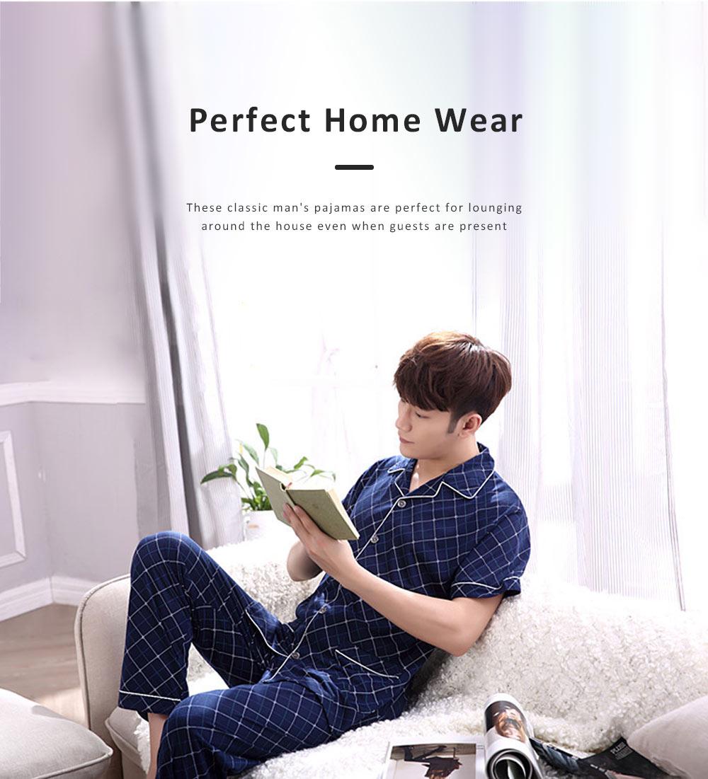 Men Summer Pajamas Set Comfortable Cotton Classic Home Wear Short Sleeve Long Pant Sleepwear 2