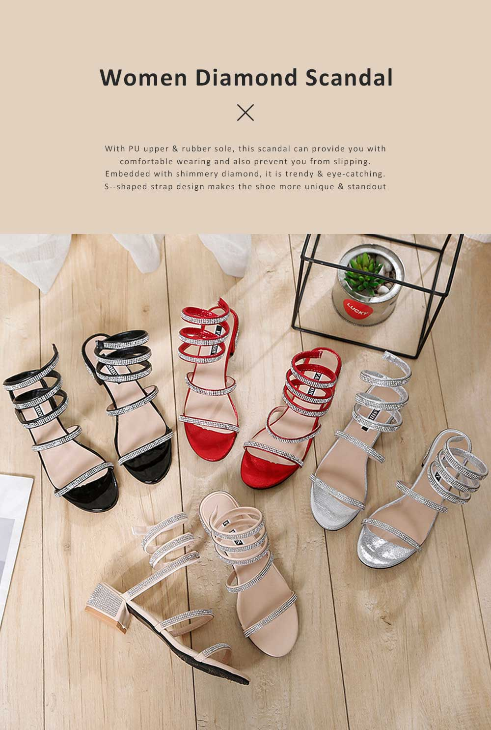 Women Sandals With S-shaped Strap PU Rubber Diamond Shoe Fashionable Thick-Heel Open Toe Shoe 0