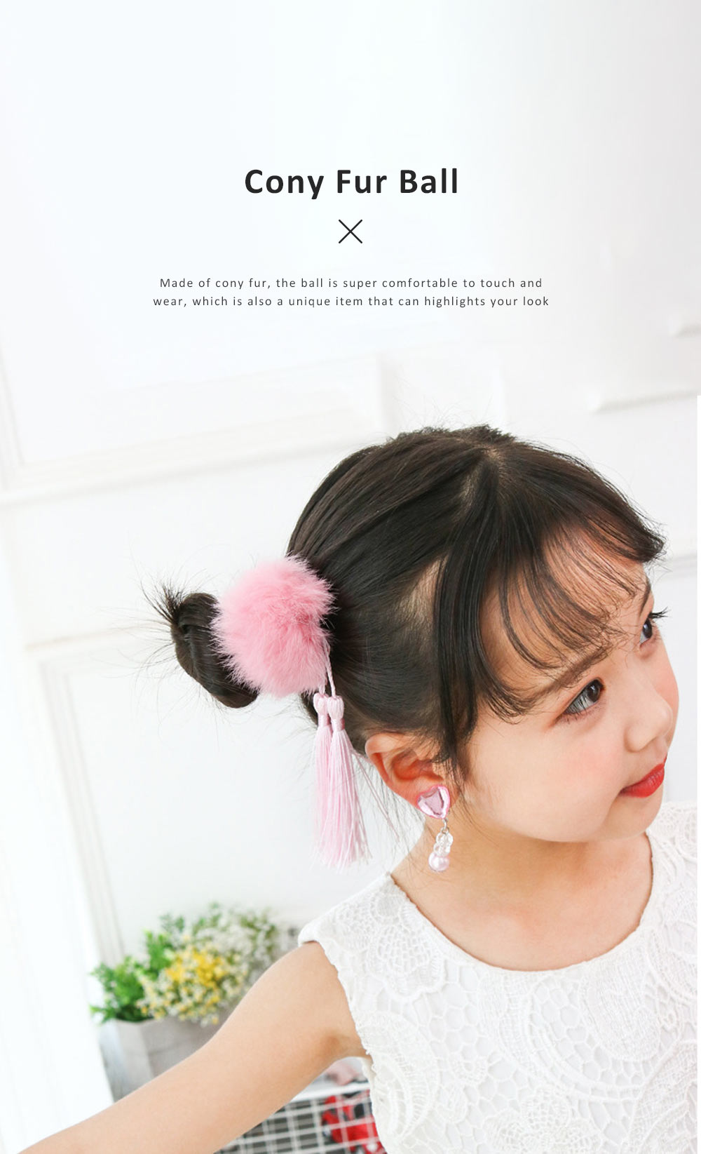 Chinese Style Hairpin Long Tassel Cony Fur Ball Hairstyle Barrette Classic Hair Accessories Set For Grils 4