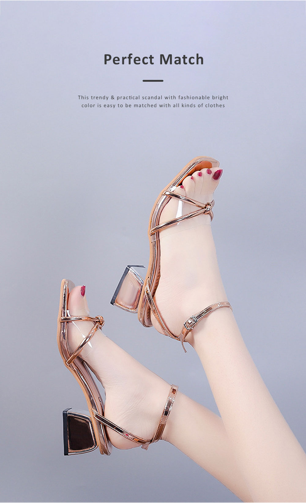 Medium-Height Thick Heel Scandal Transparent Fashion Cross Design PU Rubber Open Toe Shoe with Square Head For Women 2