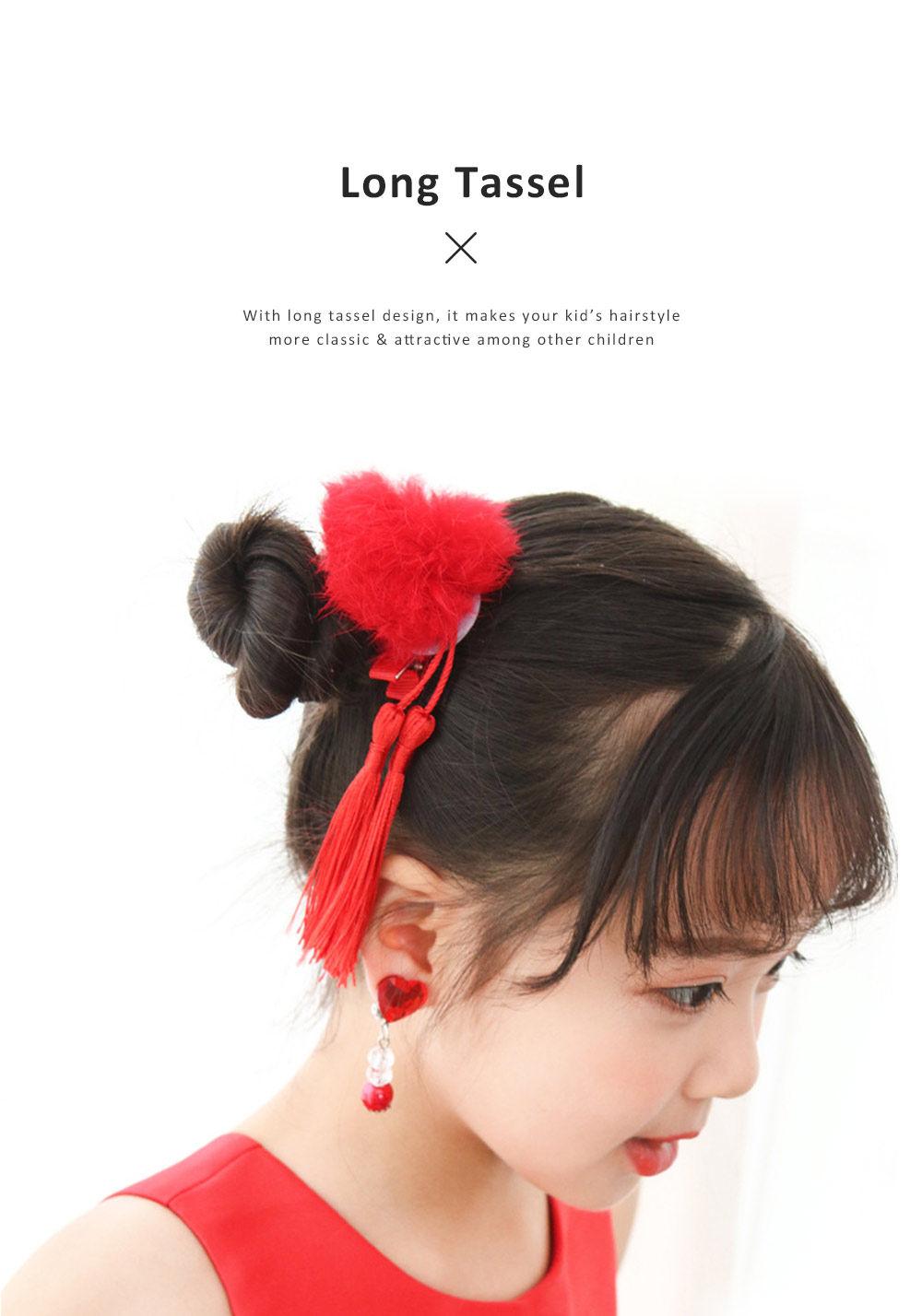 Chinese Style Hairpin Long Tassel Cony Fur Ball Hairstyle Barrette Classic Hair Accessories Set For Grils 3