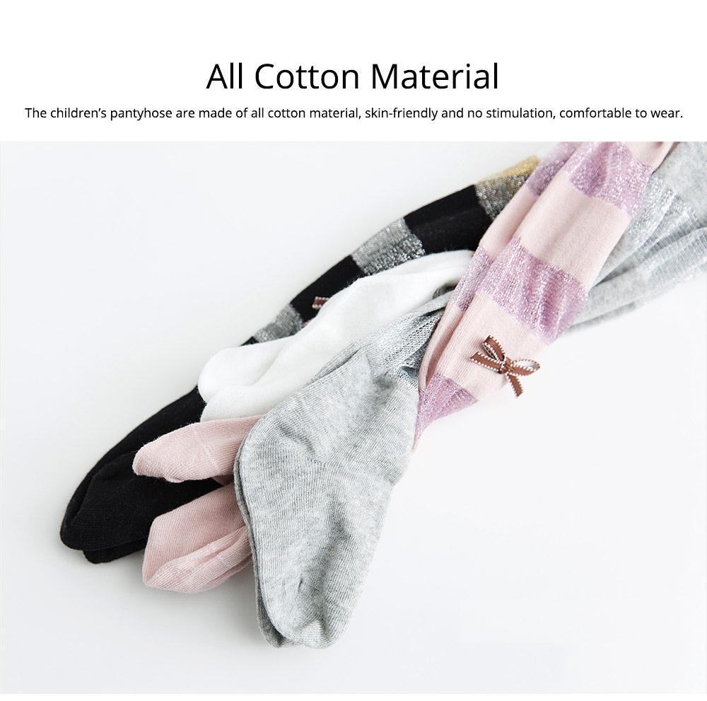 Spring Summer Children's Pantyhose All Cotton Metallic Yarn Mesh Thin Infant Fashion Stockings Two-needle Baby Leggings 1