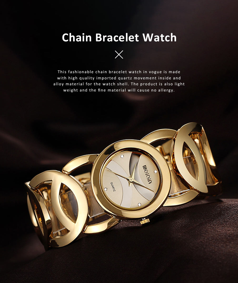 Women Fashionable Chain Bracelet Watch without Readings Hollow Style Wristwatch with Drills 0