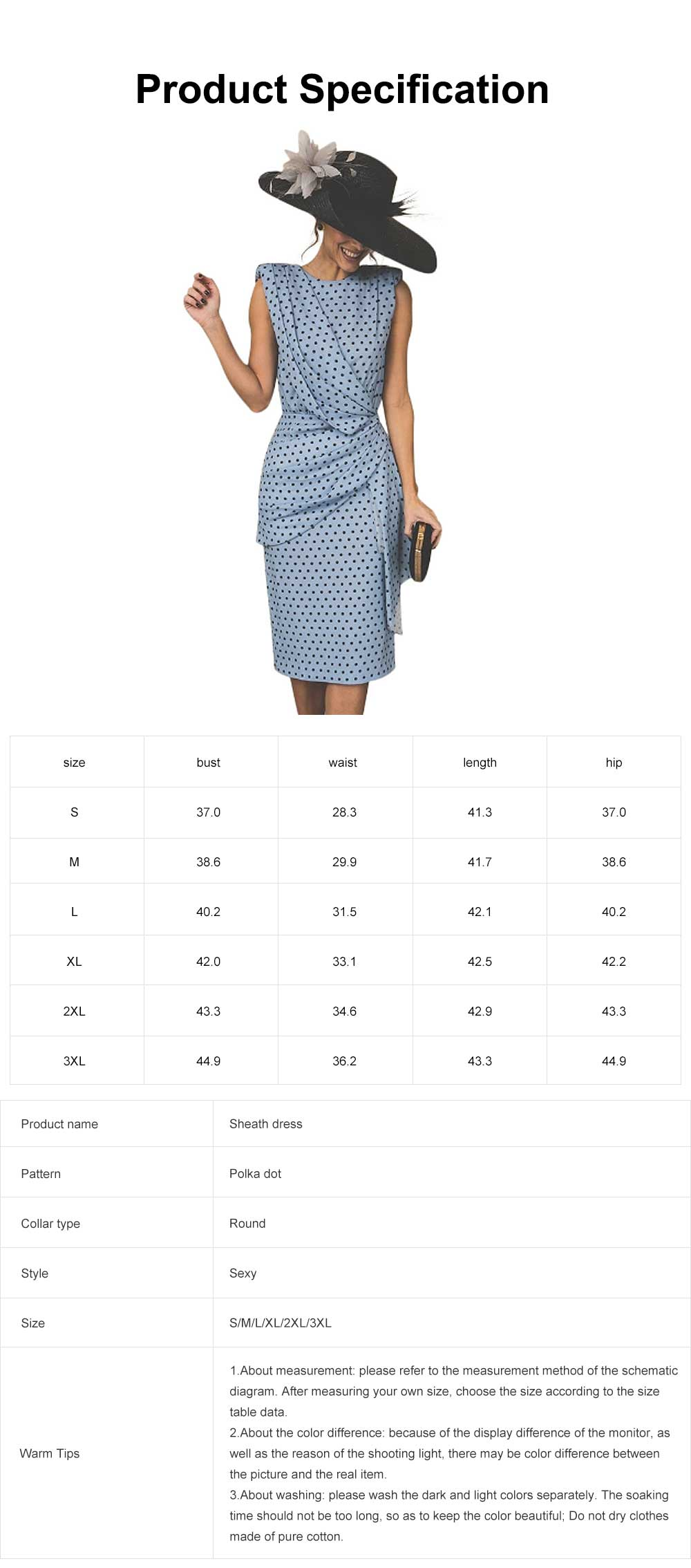 Polka Dot Sheath Dress for Women Knee Length, Backless Design Multi-layer Sexy Bag Hip Tight Dress 6