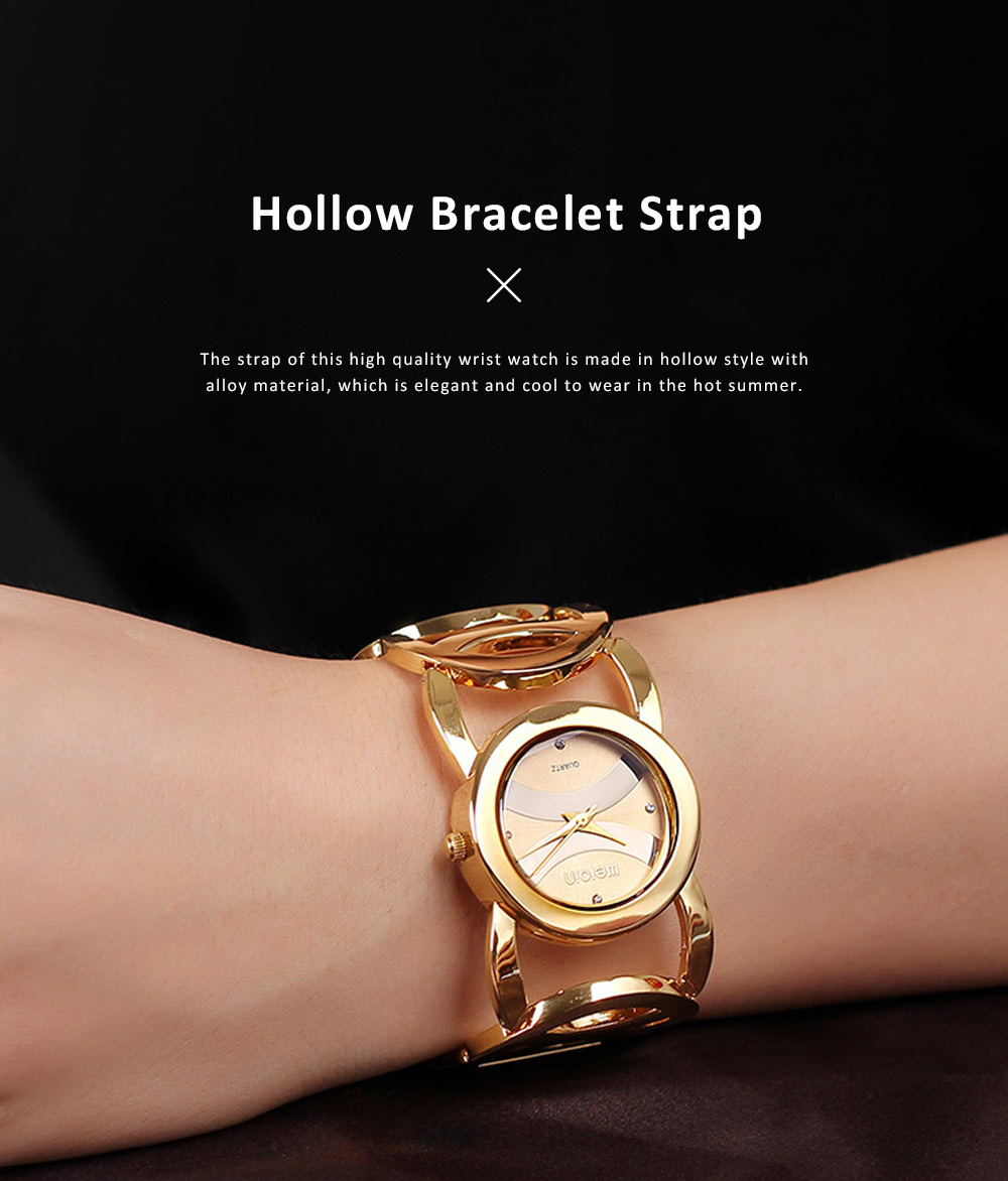 Women Fashionable Chain Bracelet Watch without Readings Hollow Style Wristwatch with Drills 3