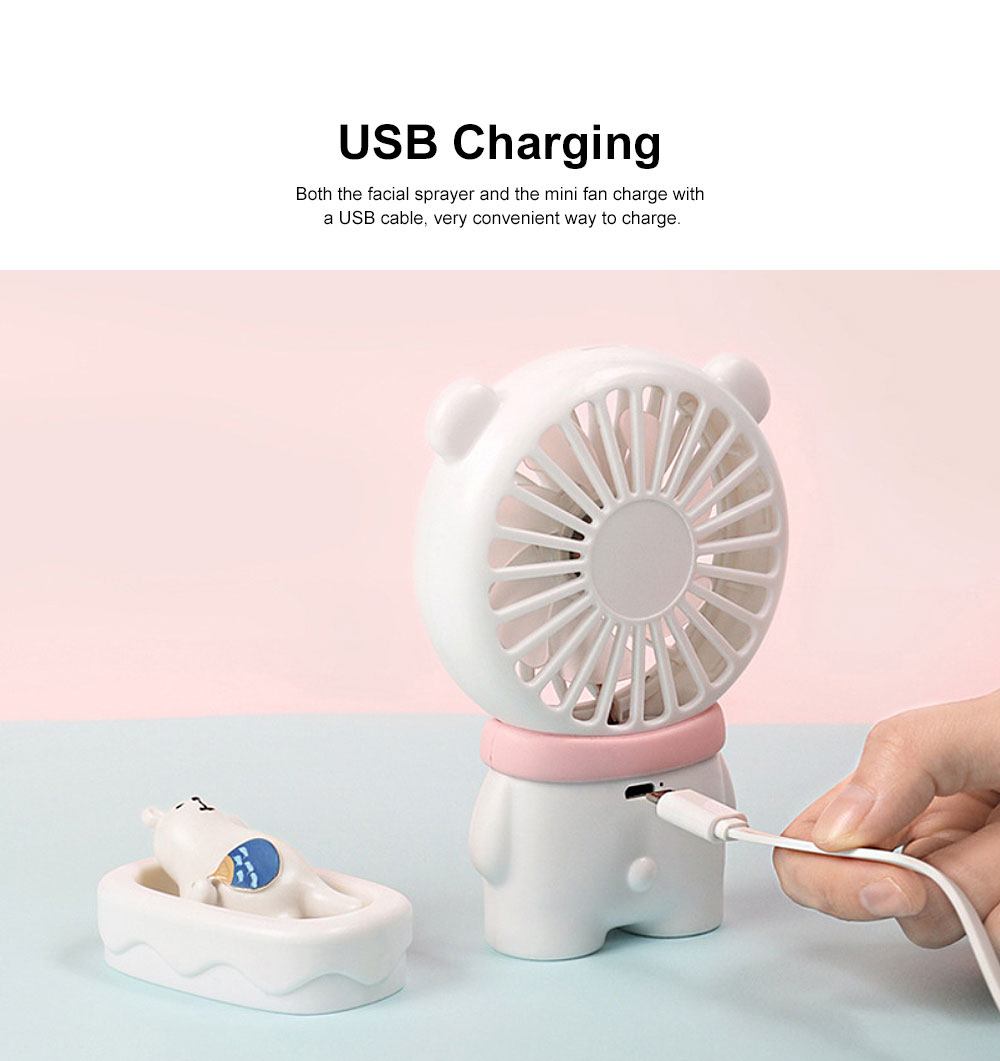 Nano Sprayer for Face Caring Summer Refreshing Set, Portable USB Charging Mini Fan and Facial Sprayer 2