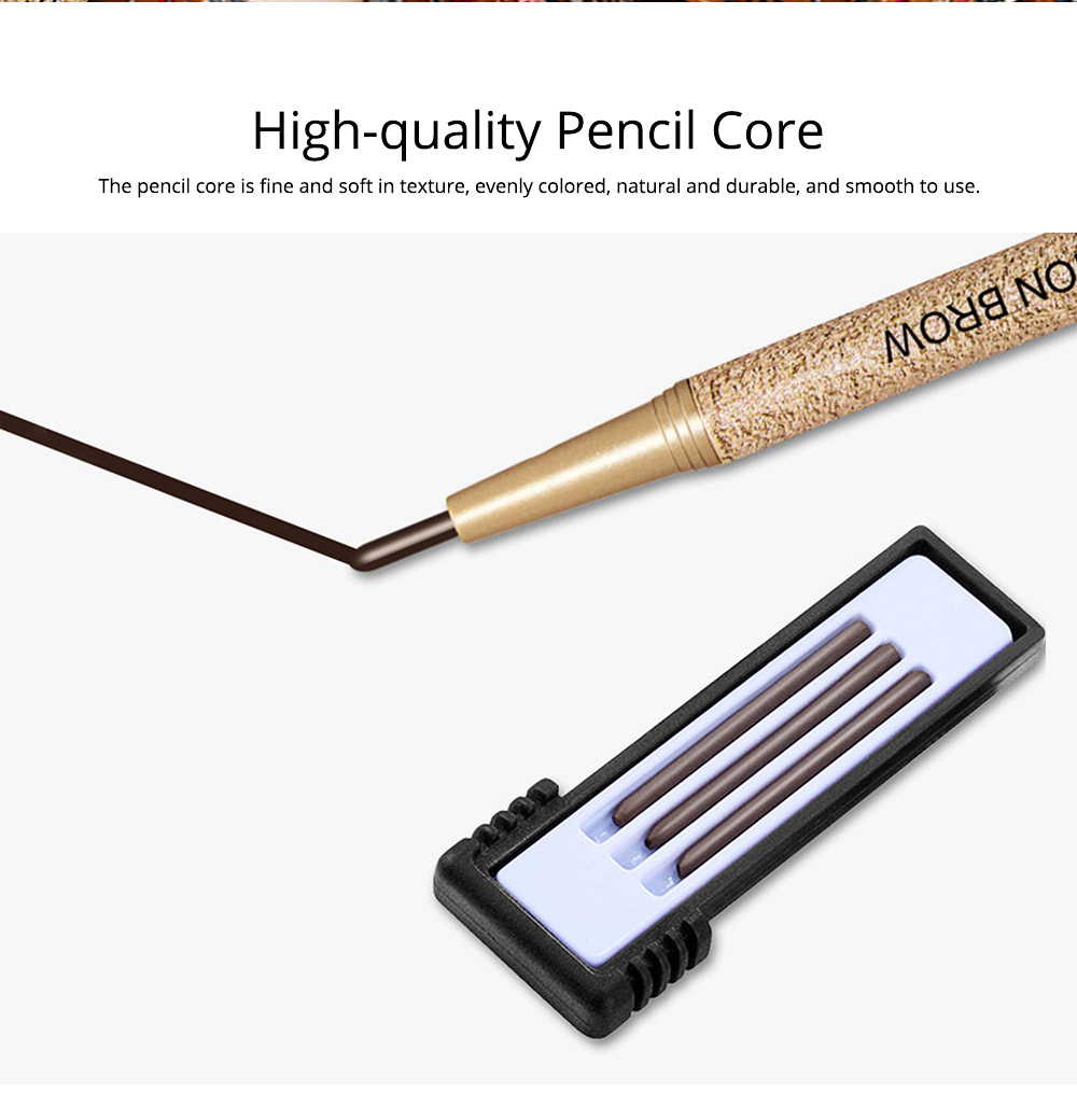 Automatically Rotate Eyebrow Pencil for Beginners Double-headed Lasting Waterproof  Cosmetics Makeup Tool With FREE 3PCS Eyebrow Card Replacement Core 1