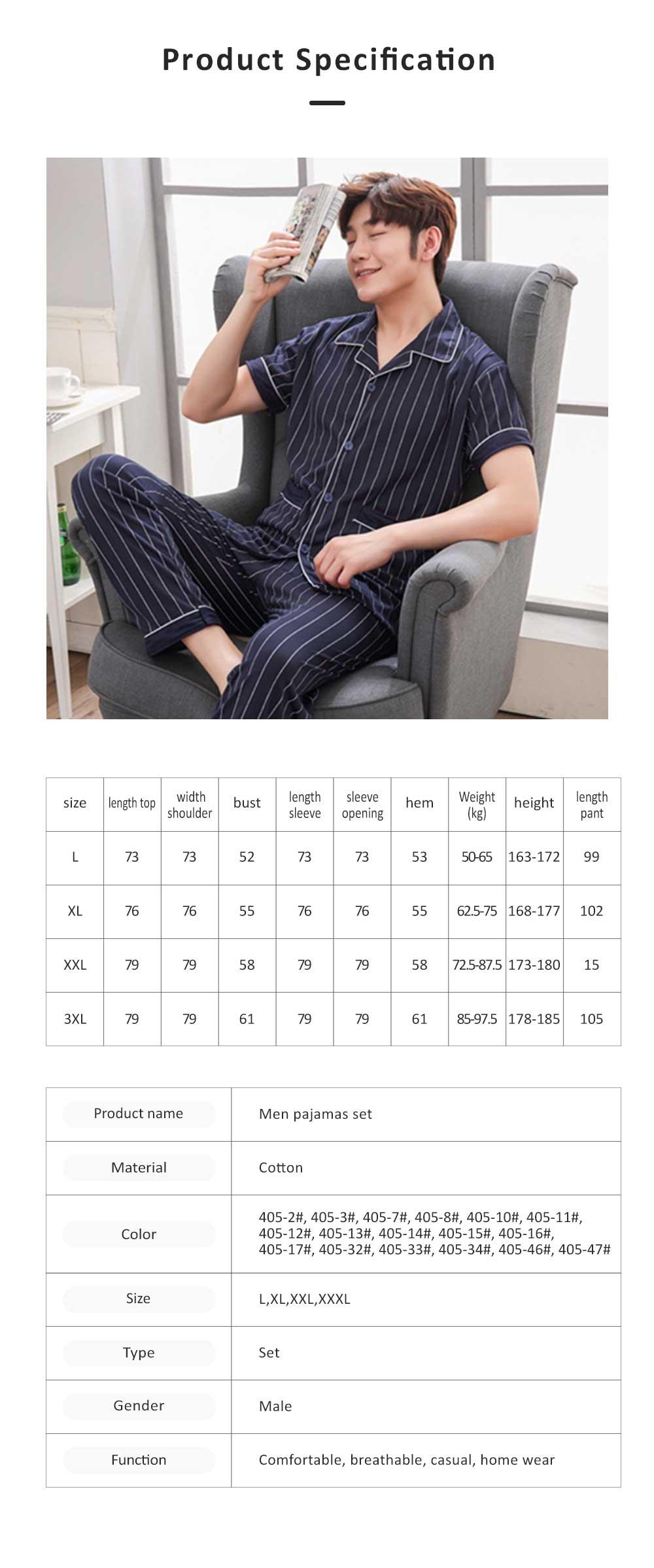 Men Summer Pajamas Set Comfortable Cotton Classic Home Wear Short Sleeve Long Pant Sleepwear 6