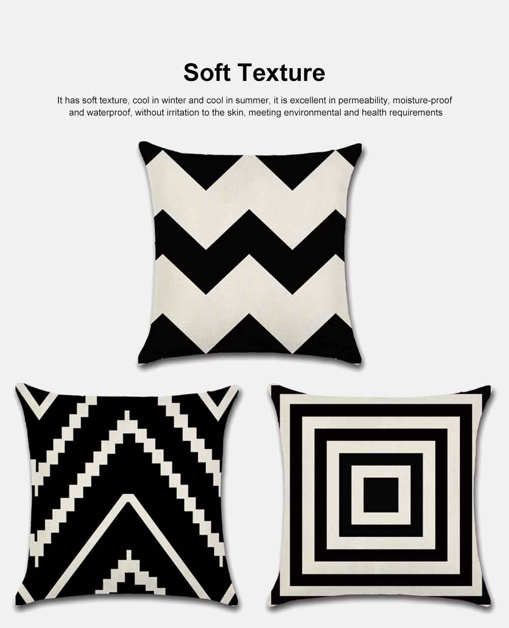 Geometric Cushion Cover Black And White Polyester Throw Pillow Case Striped Dotted Grid Triangular Geometric Art Cushion Cover 2