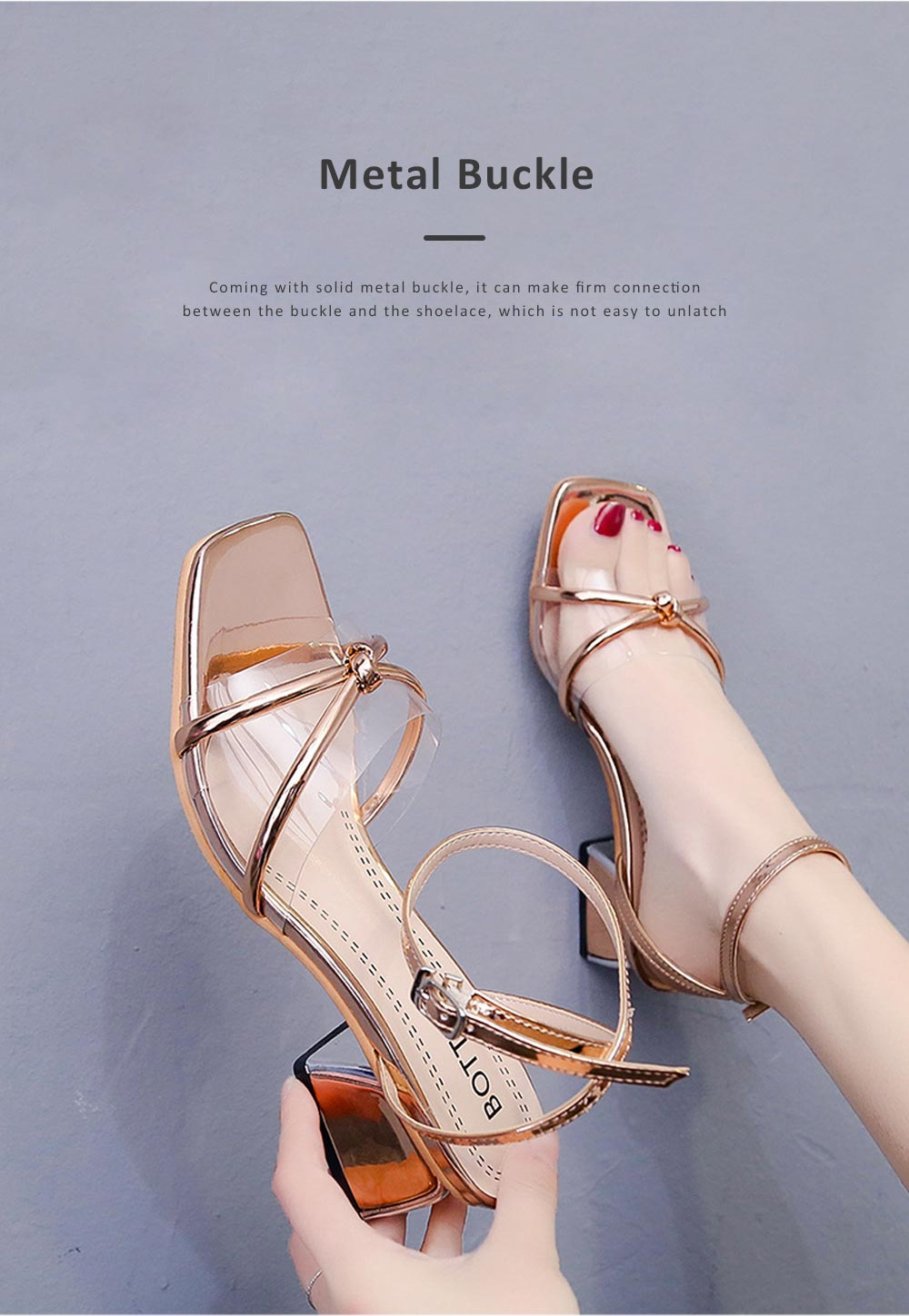Medium-Height Thick Heel Scandal Transparent Fashion Cross Design PU Rubber Open Toe Shoe with Square Head For Women 4