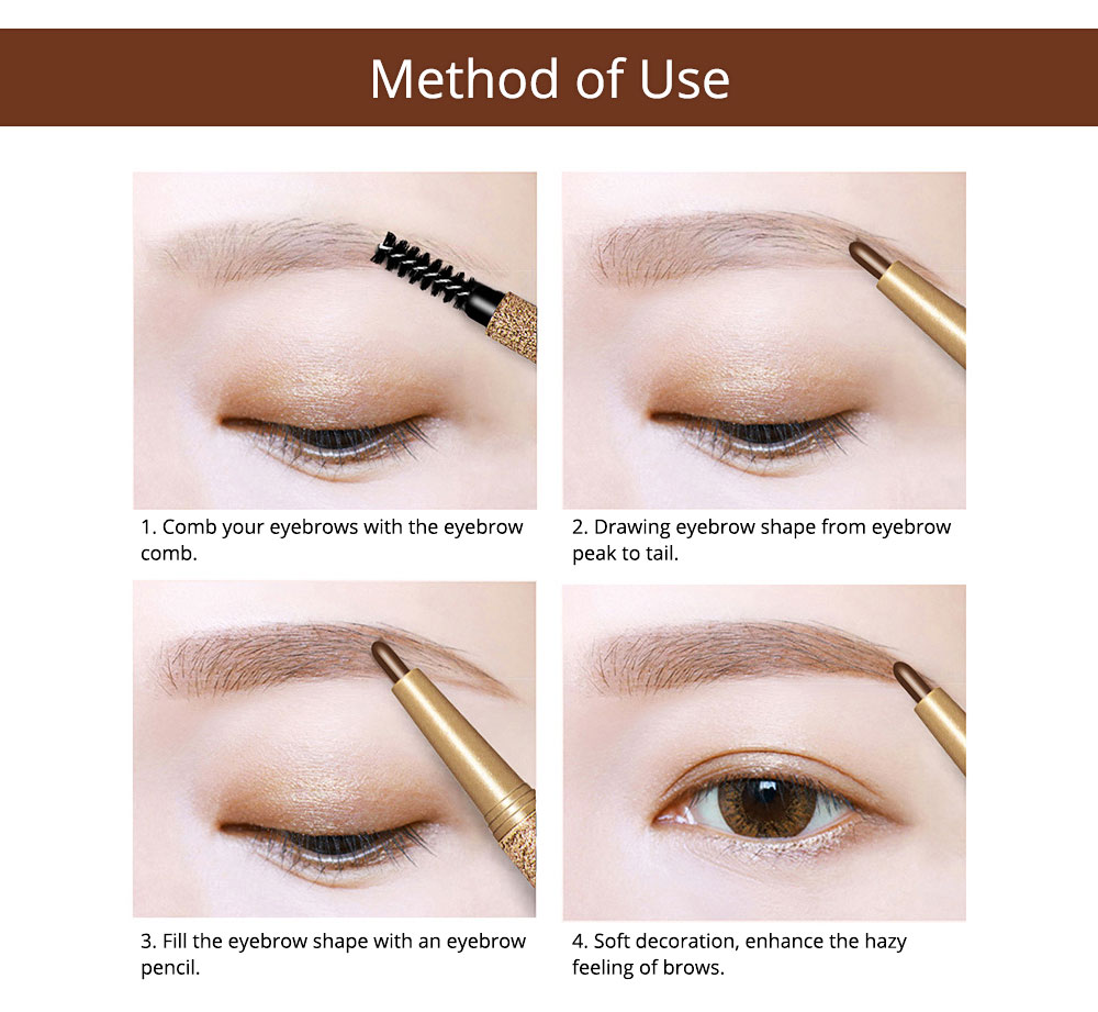Automatically Rotate Eyebrow Pencil for Beginners Double-headed Lasting Waterproof  Cosmetics Makeup Tool With FREE 3PCS Eyebrow Card Replacement Core 9