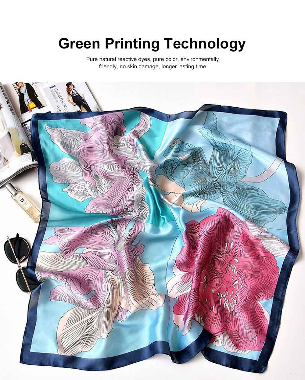 Chiffon Printed Scarf for Women with Delicate Patterns, New Retro Versatile Scarf for Different Occasions. 3