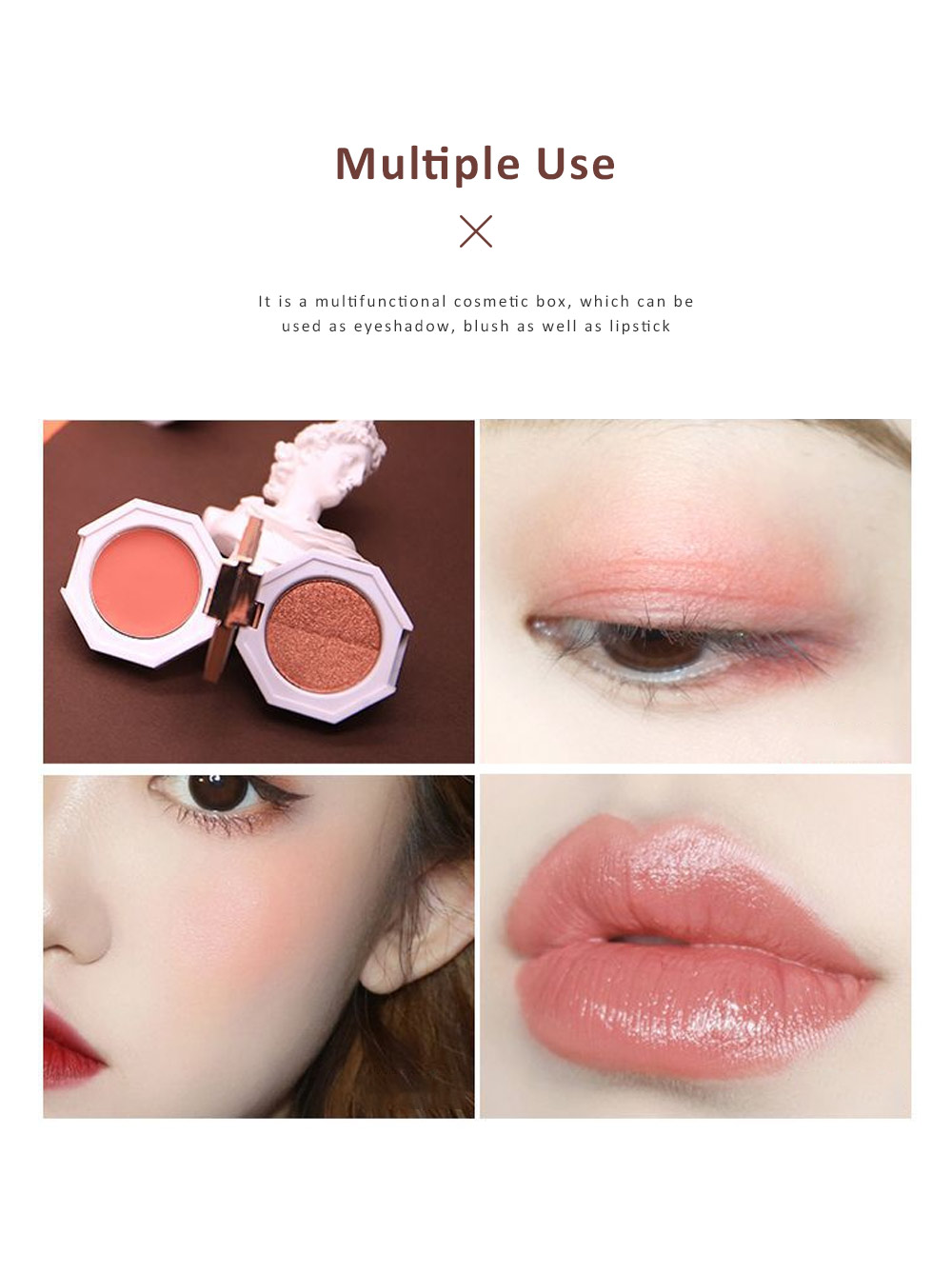 Double Layered Eyeshadow Box Marble Surface Matte and Shimmer Foldable Eye Shadow Powder Makeup 2
