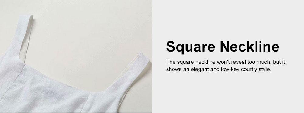 Vest Skirt Set for Women in Summer, 2 Pcs Short Square Neckline Vest and Midiskirt with Stylish Waist Strap 5