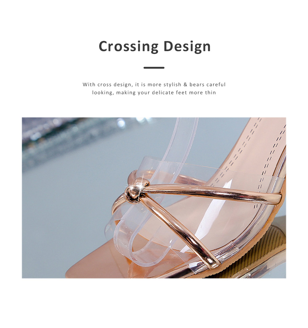 Medium-Height Thick Heel Scandal Transparent Fashion Cross Design PU Rubber Open Toe Shoe with Square Head For Women 3