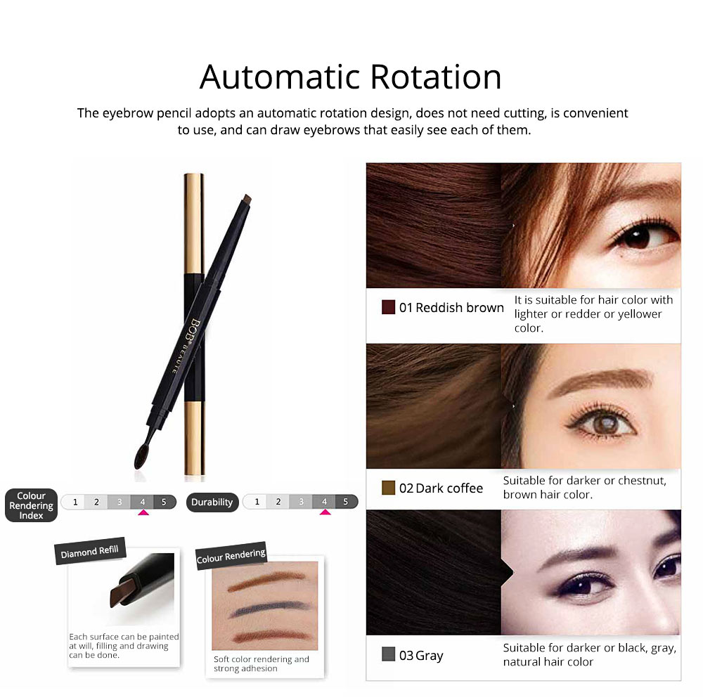 Delicate Eyebrow Pencil Deep Sea Fish Oil Luxury Automatic Rotation Double-headed Suit with Brow Knife 2