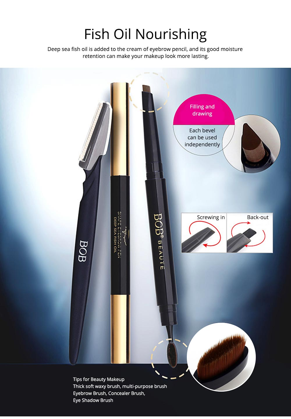Delicate Eyebrow Pencil Deep Sea Fish Oil Luxury Automatic Rotation Double-headed Suit with Brow Knife 1