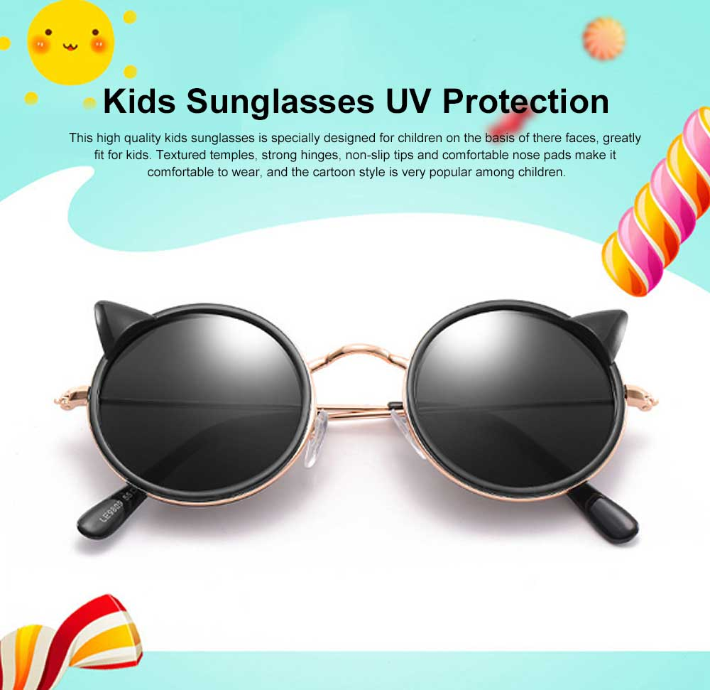 Children Fashion Sunglasses with Round Metal Frame and Non-slip Tips, UVA UVB Protection Kids Sunglasses. 0