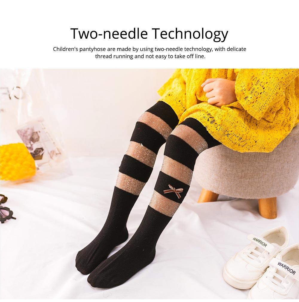 Spring Summer Children's Pantyhose All Cotton Metallic Yarn Mesh Thin Infant Fashion Stockings Two-needle Baby Leggings 4