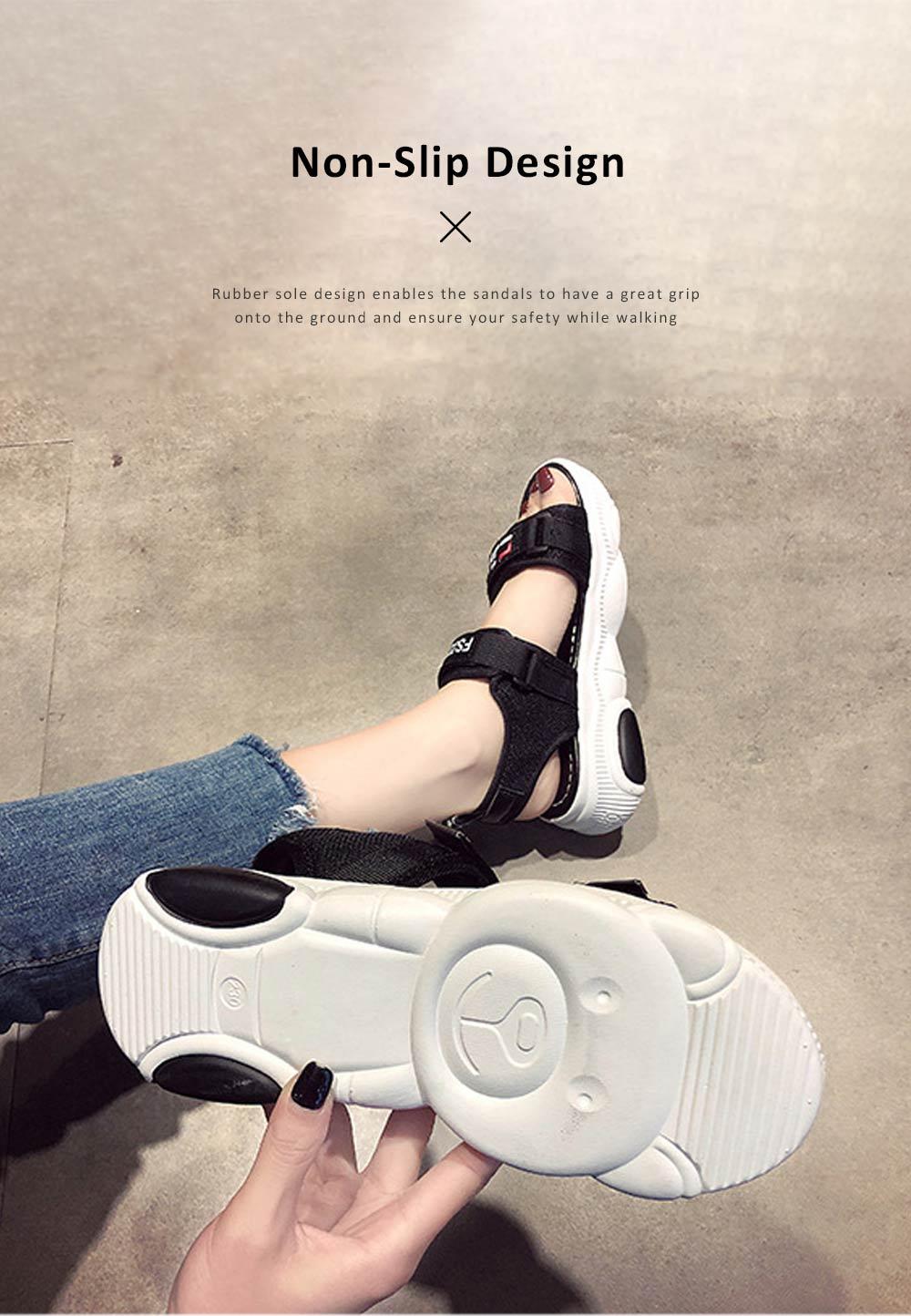 Women Scandal Elastic Adjustable Velcro Strap Shoe Breathable Athletic Open Toe Shoe Bear Bottom for Walking Running 2