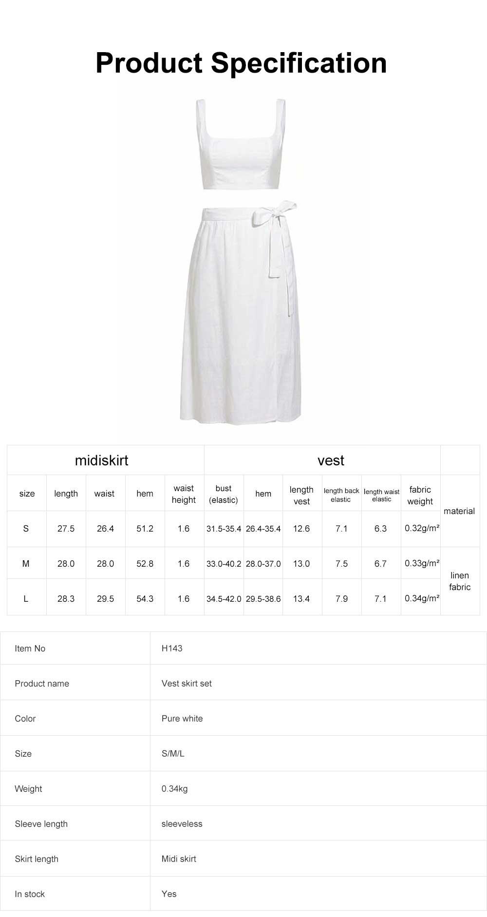 Vest Skirt Set for Women in Summer, 2 Pcs Short Square Neckline Vest and Midiskirt with Stylish Waist Strap 6