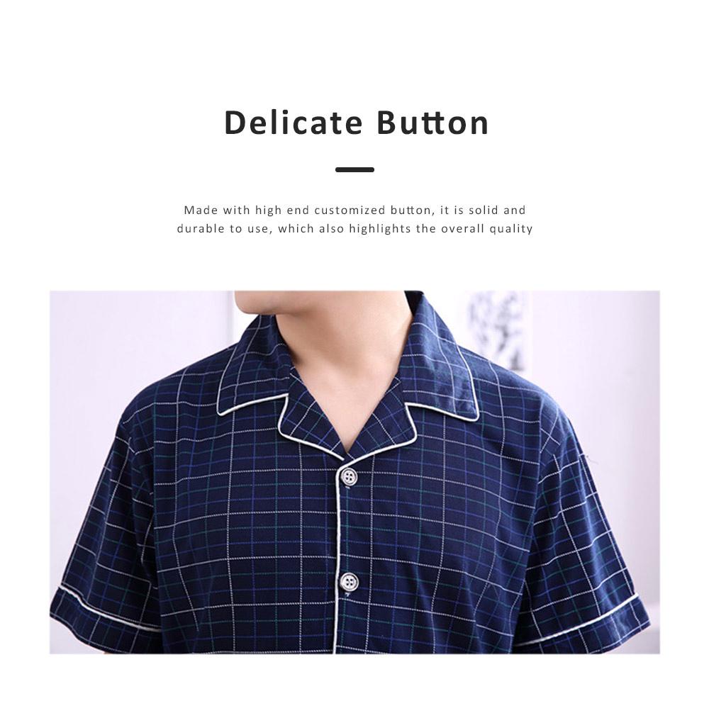 Men Summer Pajamas Set Comfortable Cotton Classic Home Wear Short Sleeve Long Pant Sleepwear 5