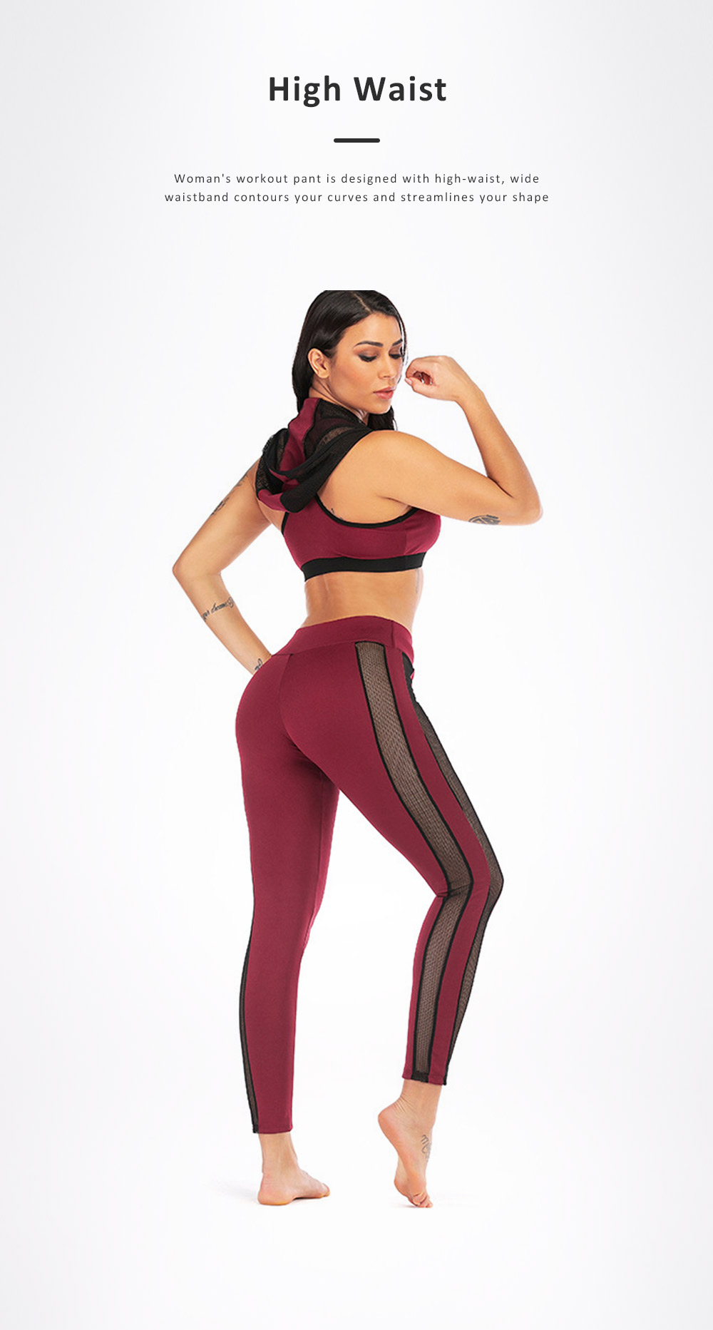 Women Jogging Sport Suit Workout Set Gauze Splicing Stretchy Comfortable 2 Pieces Suits Breathing High Waist Pant & Top Athletic Outfit 2