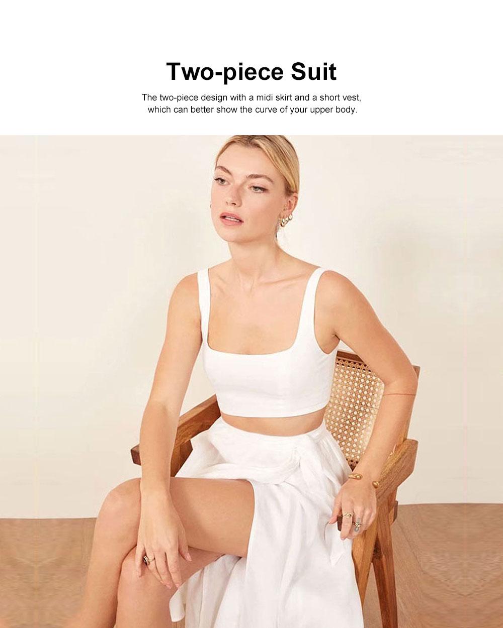 Vest Skirt Set for Women in Summer, 2 Pcs Short Square Neckline Vest and Midiskirt with Stylish Waist Strap 1
