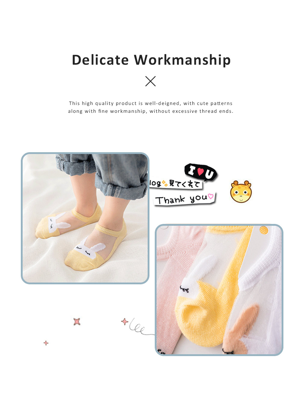 5 Pairs Latest Cotton and Glass Fibre Material Summer Ankle Socks for Children, High Quality Thin Low-cut Socks with Silicone Pad 3