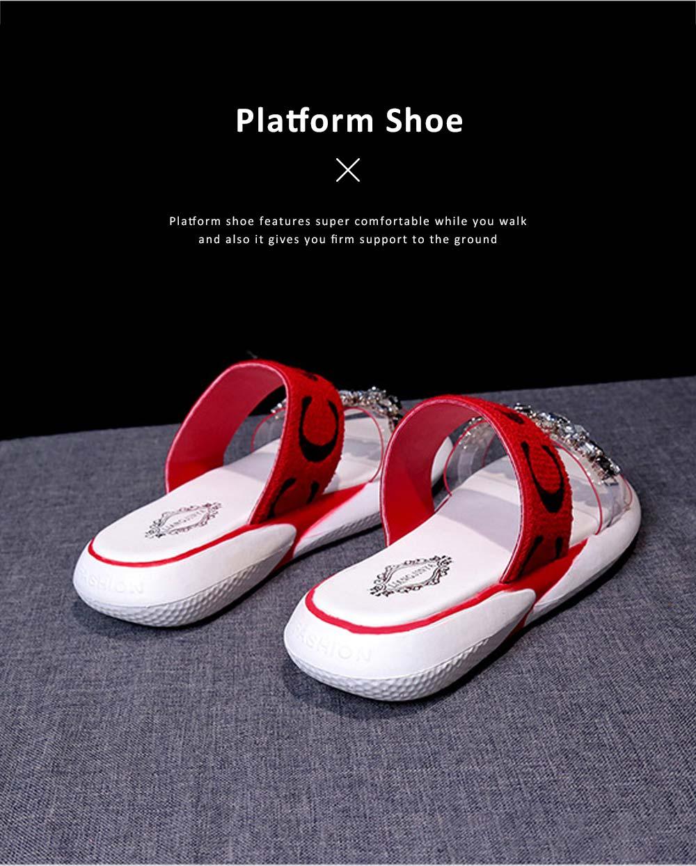 Women Summer Flat Slippery PU Rubber Comfortable Shoe Clear Diamond Elastic Strap Platform Shoe 4