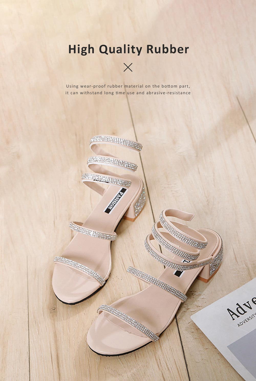 Women Sandals With S-shaped Strap PU Rubber Diamond Shoe Fashionable Thick-Heel Open Toe Shoe 6