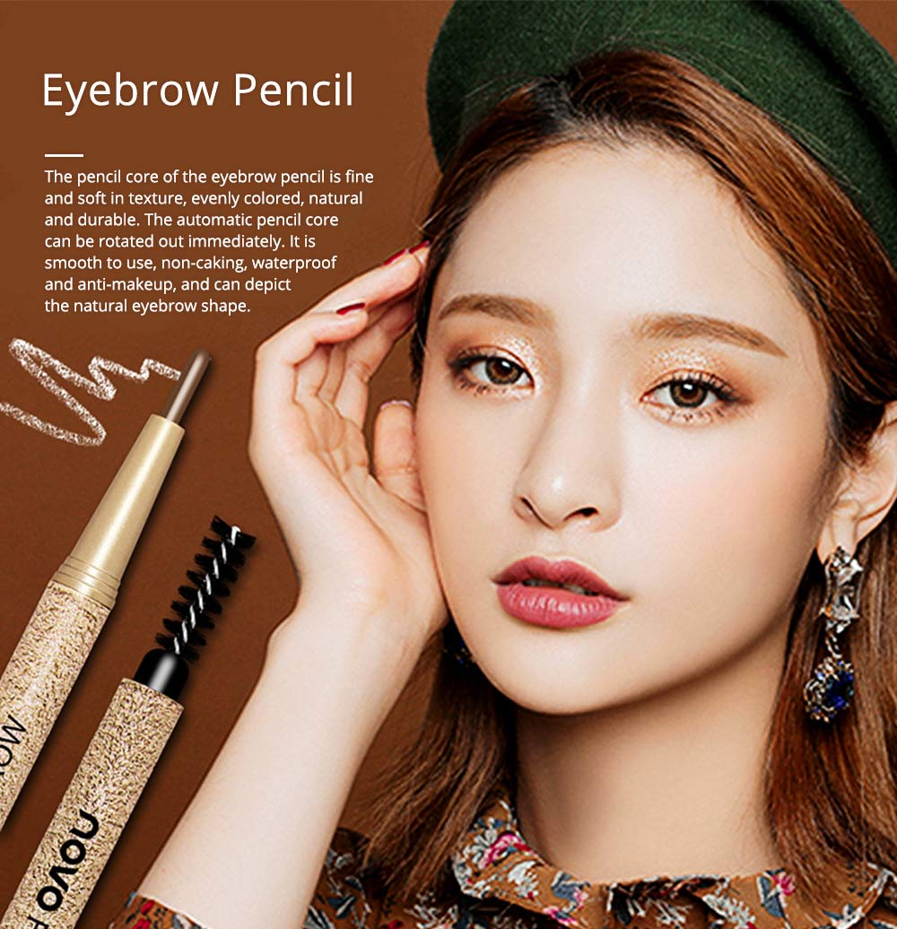 Automatically Rotate Eyebrow Pencil for Beginners Double-headed Lasting Waterproof  Cosmetics Makeup Tool With FREE 3PCS Eyebrow Card Replacement Core 0