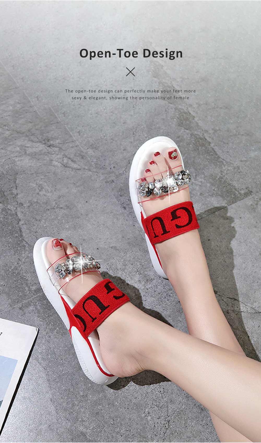 Women Summer Flat Slippery PU Rubber Comfortable Shoe Clear Diamond Elastic Strap Platform Shoe 6