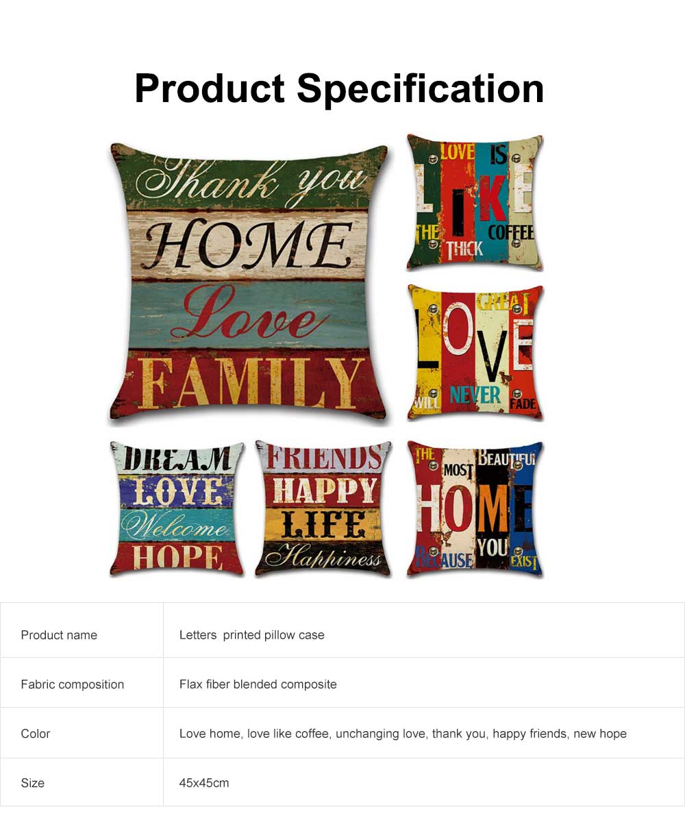 New Vintage Pillow Case Bed Cushion Square Hand-painted Decorative Letters Printed Linen Cotton Office Sofa Hug Pillow Case Cover 7