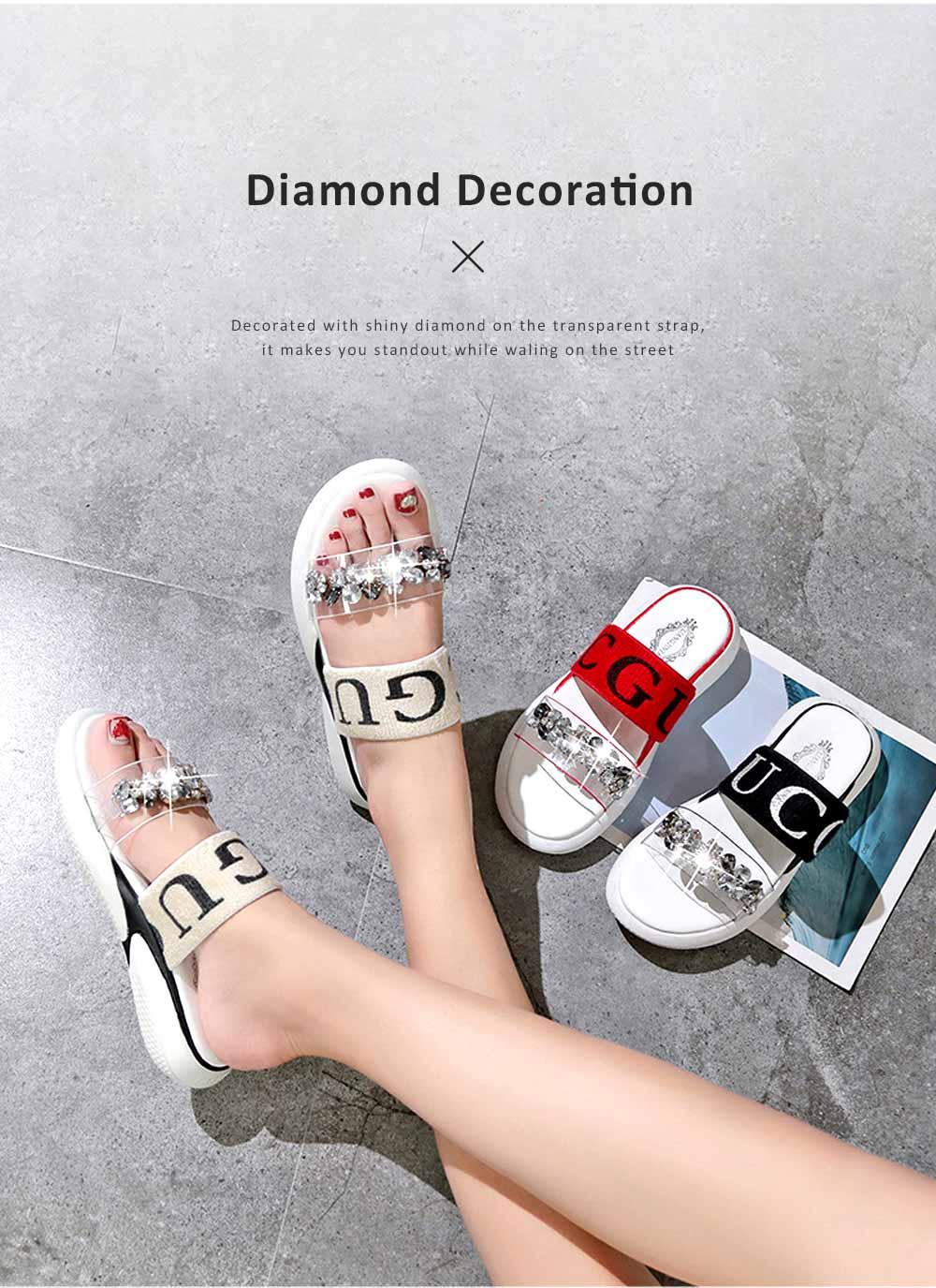 Women Summer Flat Slippery PU Rubber Comfortable Shoe Clear Diamond Elastic Strap Platform Shoe 2