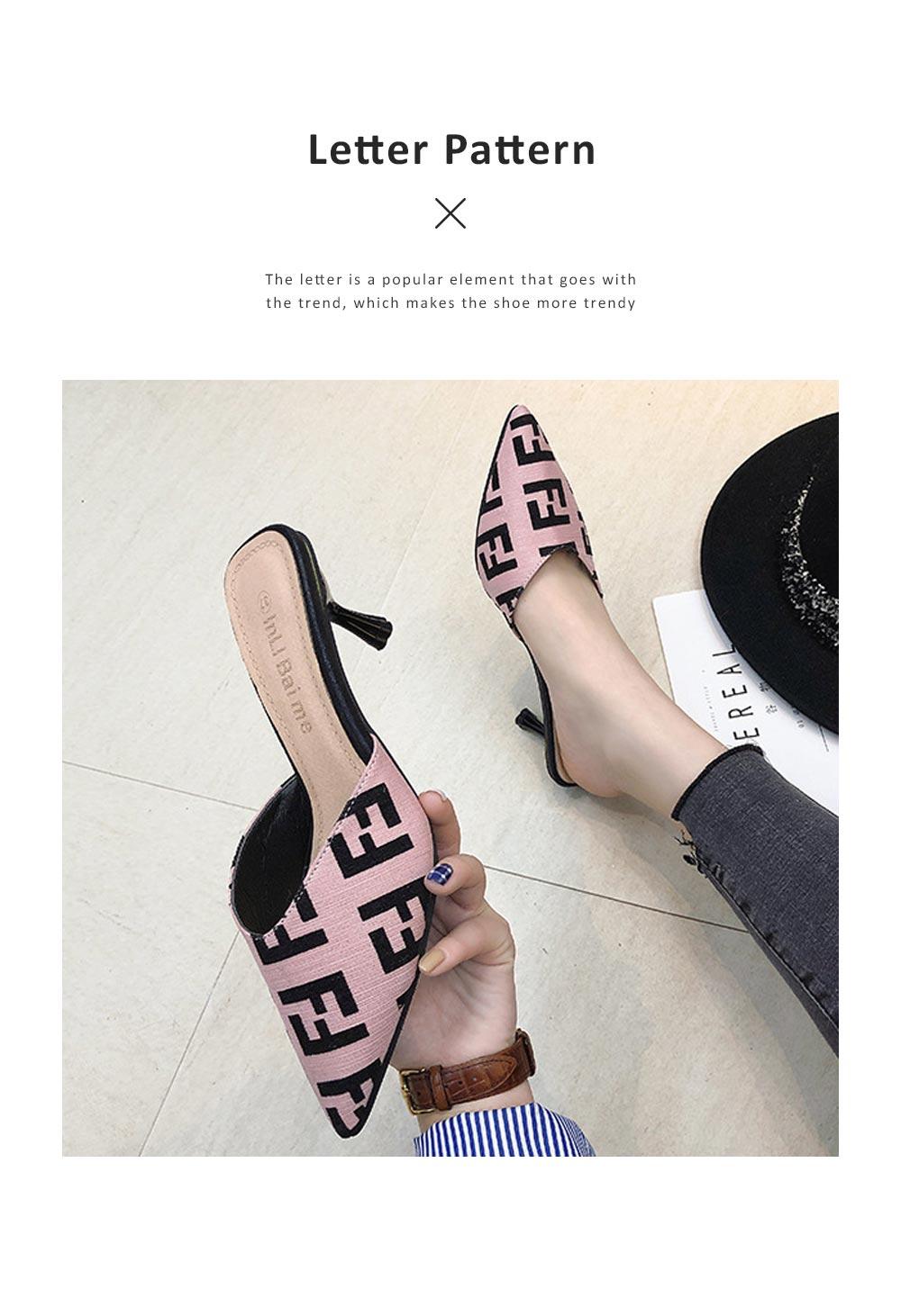 Women Closed-Toe Shoe Soft Velvet Solid Rubber Slippery Medium Heel Letter Sandals 1