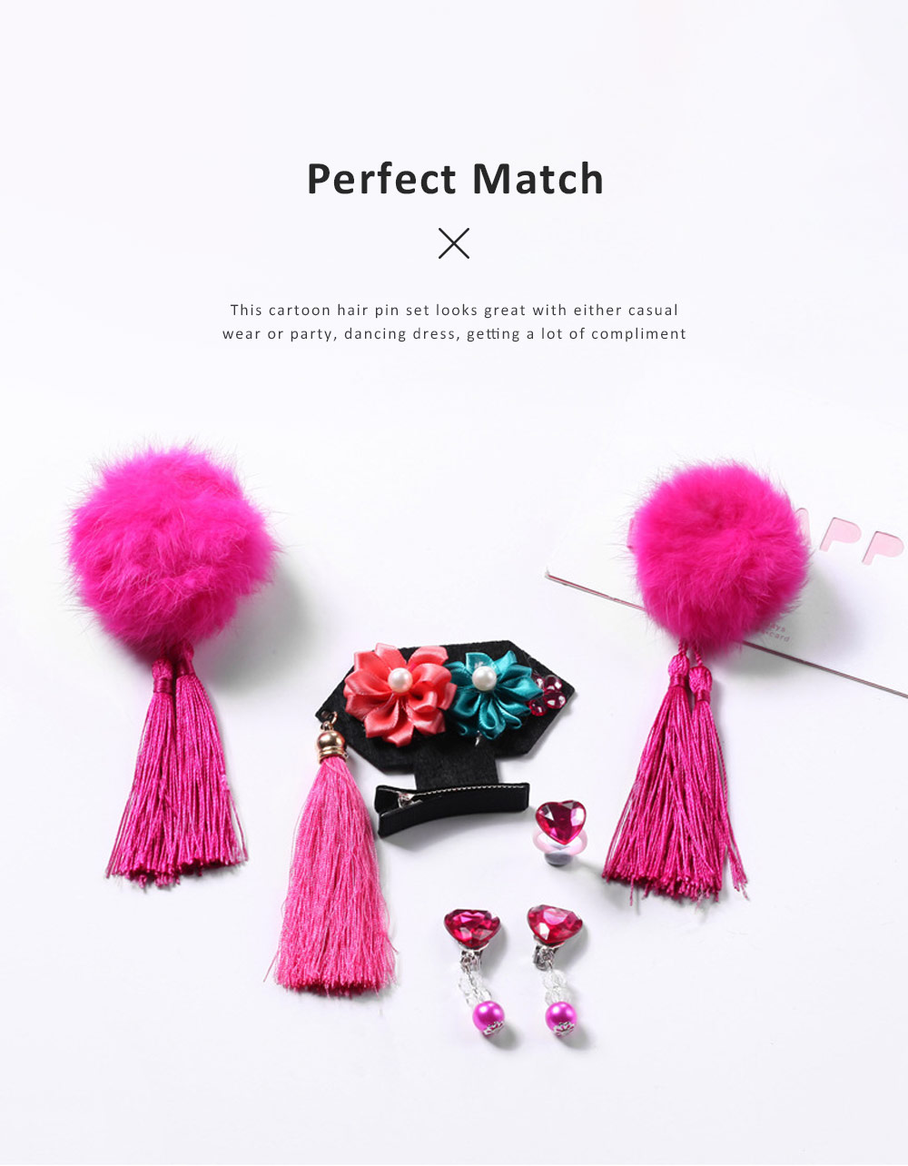 Chinese Style Hairpin Long Tassel Cony Fur Ball Hairstyle Barrette Classic Hair Accessories Set For Grils 2