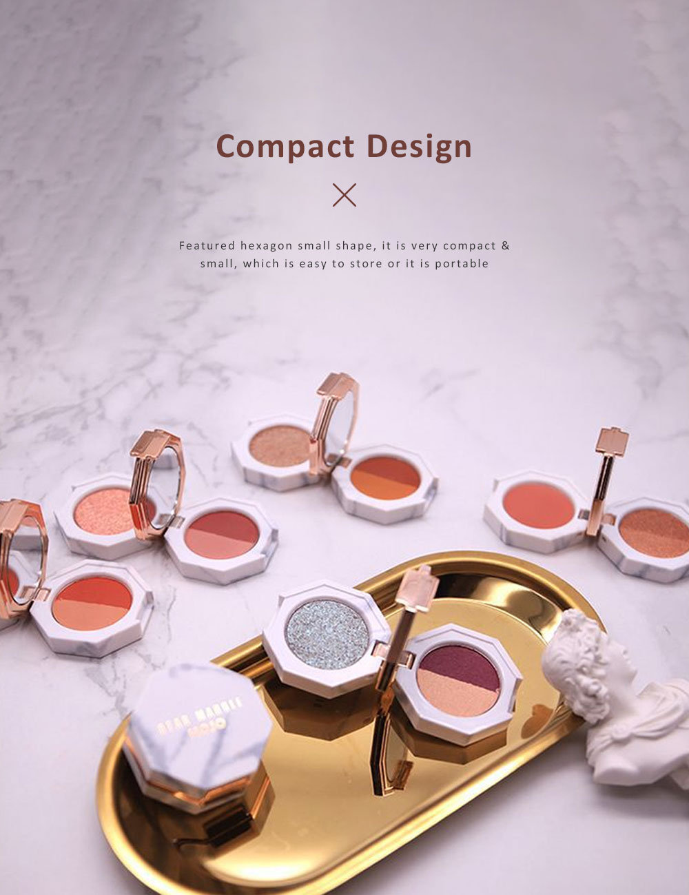 Double Layered Eyeshadow Box Marble Surface Matte and Shimmer Foldable Eye Shadow Powder Makeup 3