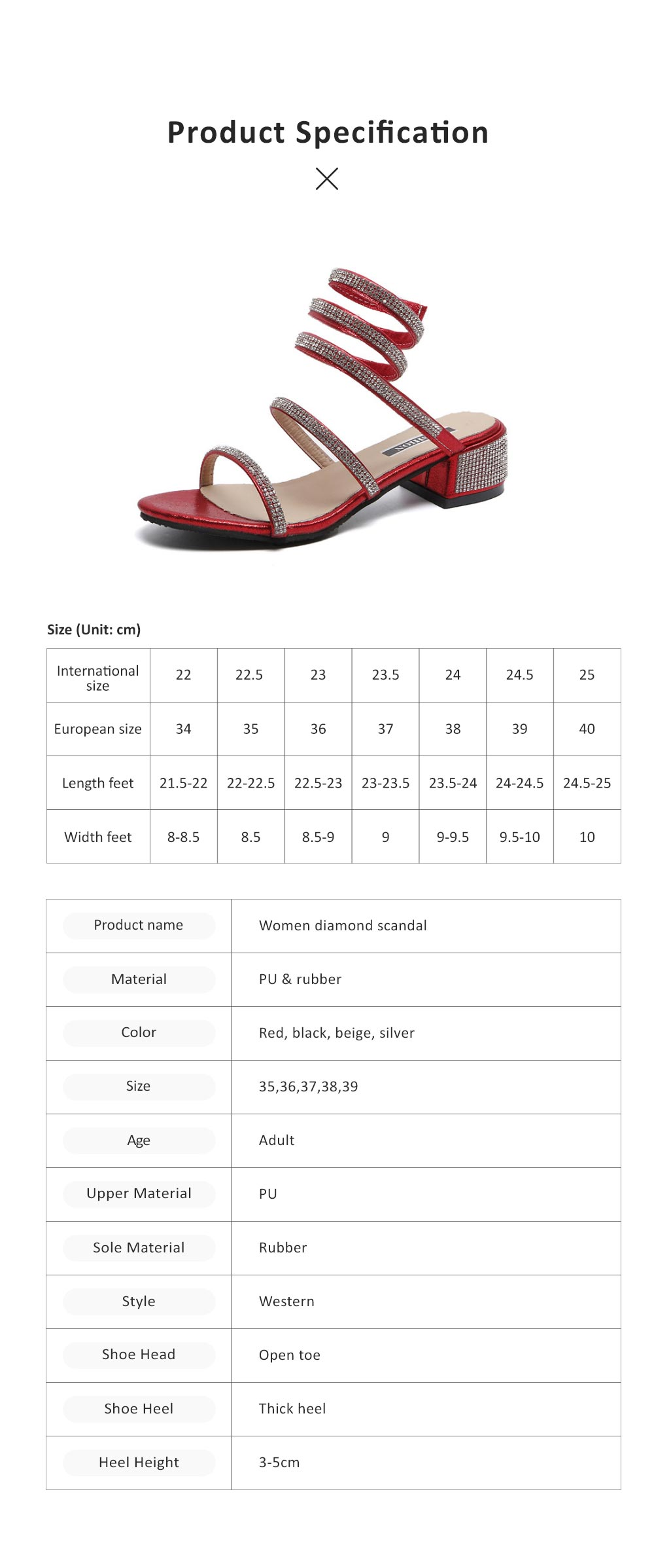 Women Sandals With S-shaped Strap PU Rubber Diamond Shoe Fashionable Thick-Heel Open Toe Shoe 7