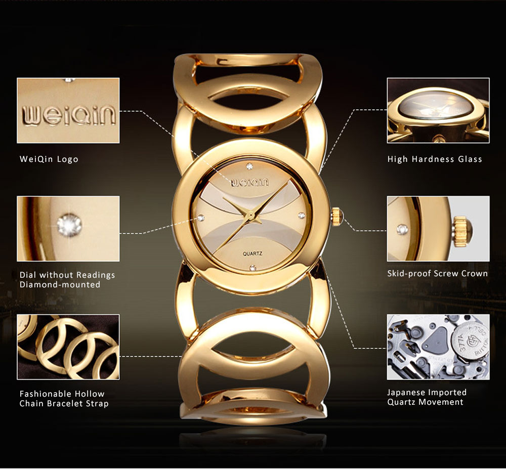 Women Fashionable Chain Bracelet Watch without Readings Hollow Style Wristwatch with Drills 1