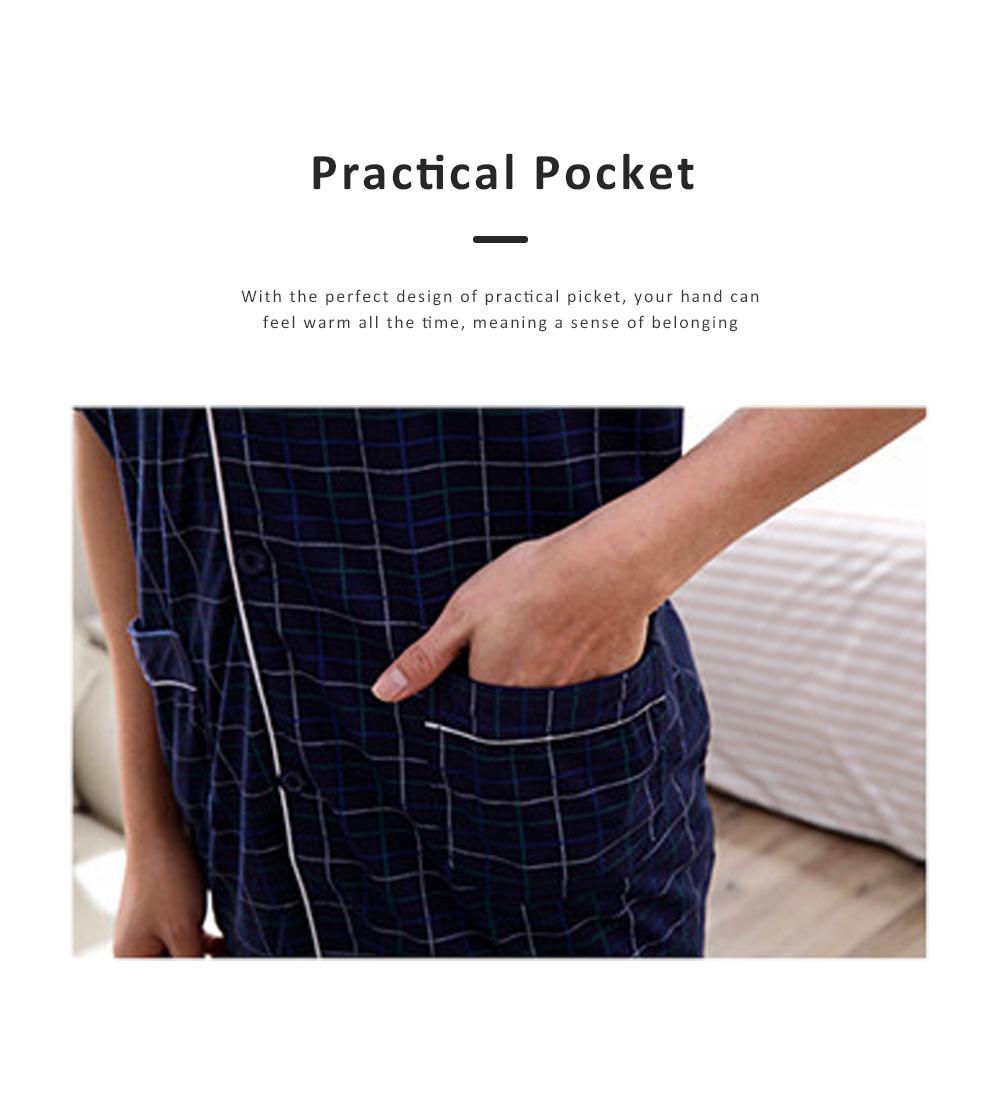 Men Summer Pajamas Set Comfortable Cotton Classic Home Wear Short Sleeve Long Pant Sleepwear 3