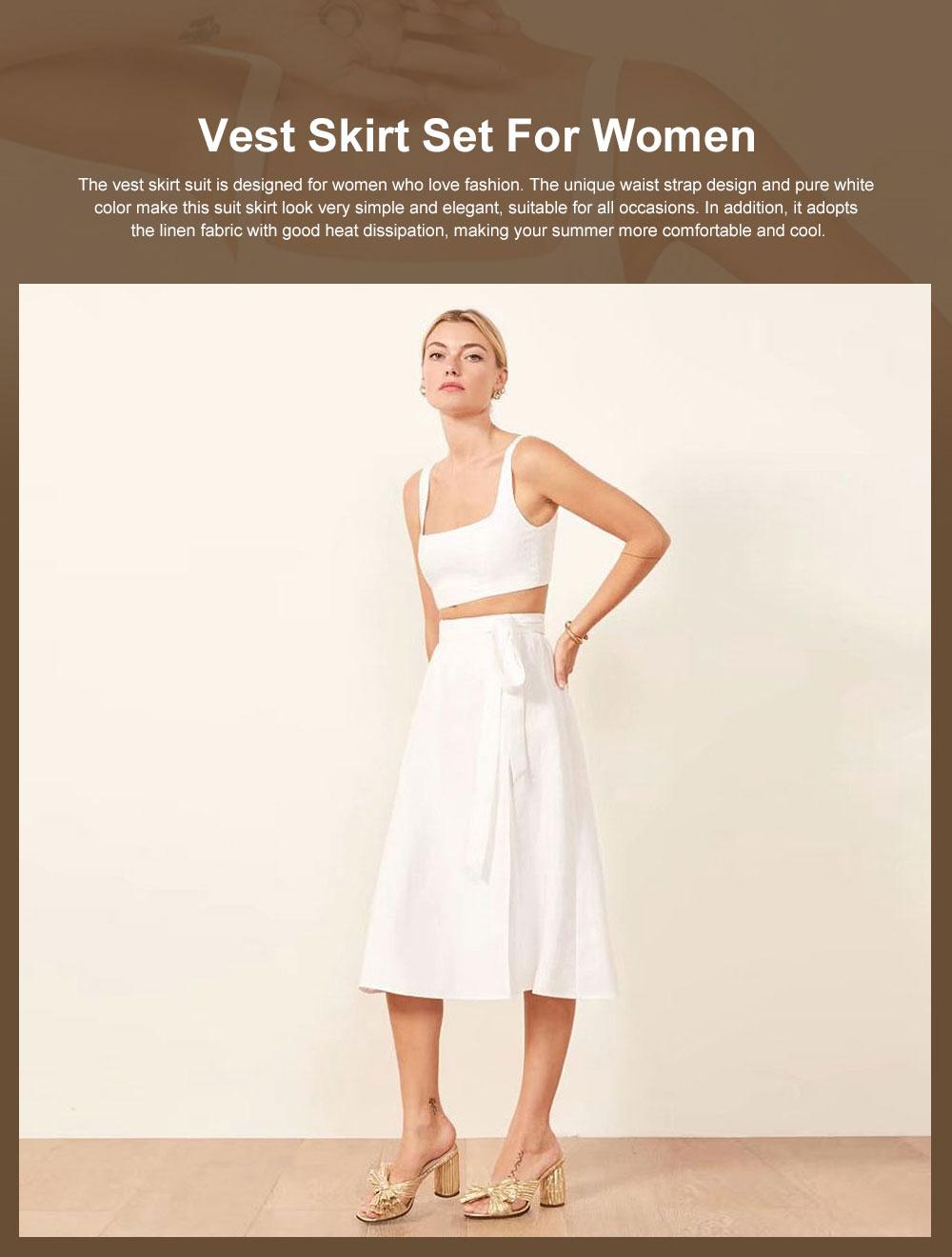Vest Skirt Set for Women in Summer, 2 Pcs Short Square Neckline Vest and Midiskirt with Stylish Waist Strap 0