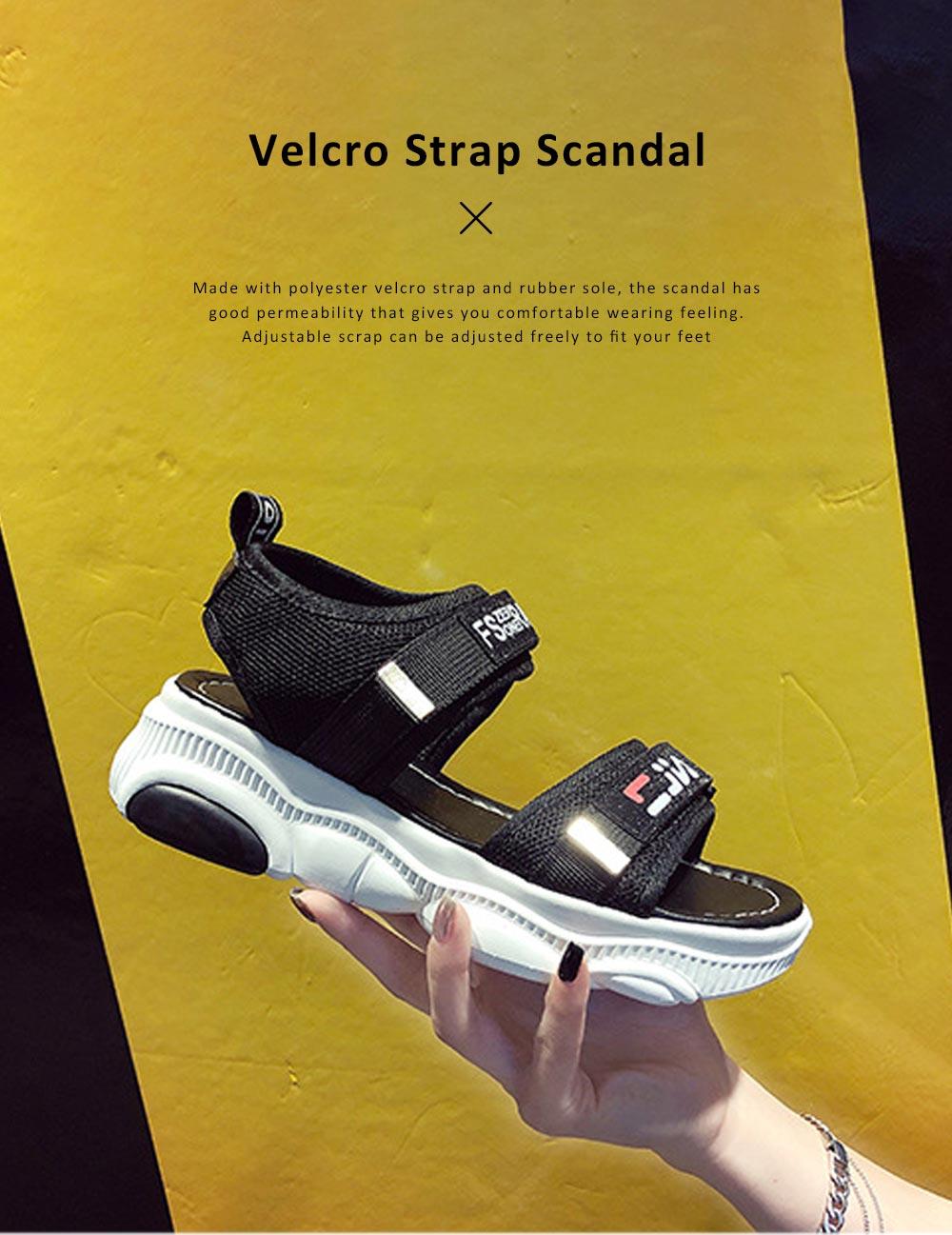 Women Scandal Elastic Adjustable Velcro Strap Shoe Breathable Athletic Open Toe Shoe Bear Bottom for Walking Running 0