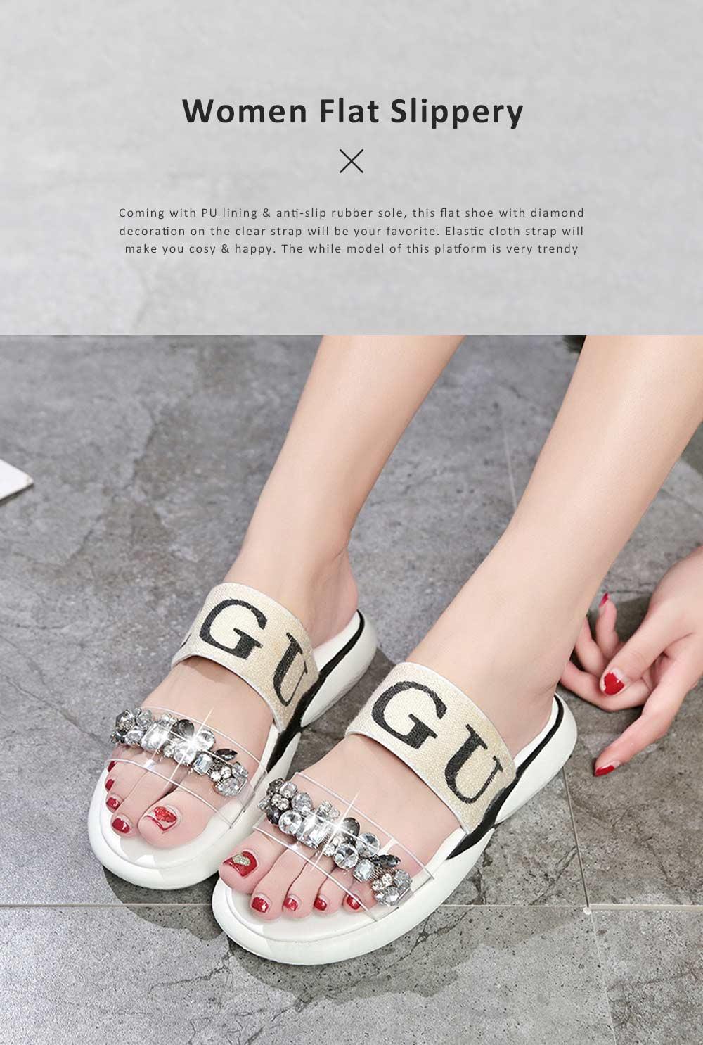 Women Summer Flat Slippery PU Rubber Comfortable Shoe Clear Diamond Elastic Strap Platform Shoe 0