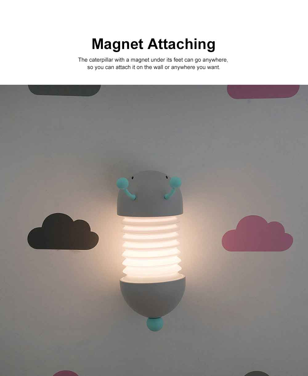 Creative USB LED Rechargeable Wall Lamp with Soft Light, Caterpillar Night Light for Children to Sleep Restful. 2