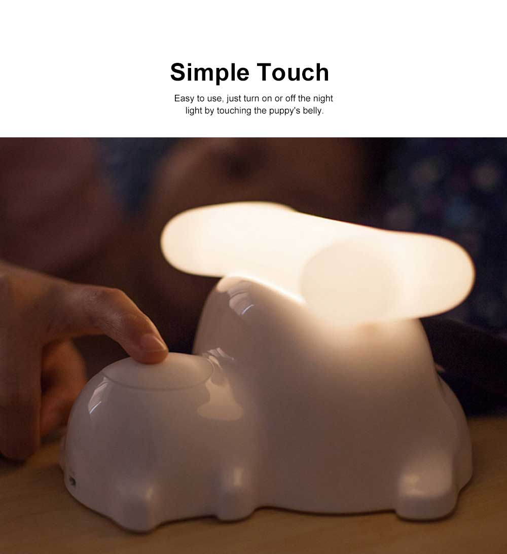 LED Creative Puppy Bedside Lamp with Soft Light, Timing Night Light with USB Port and Stepless Dimming 2