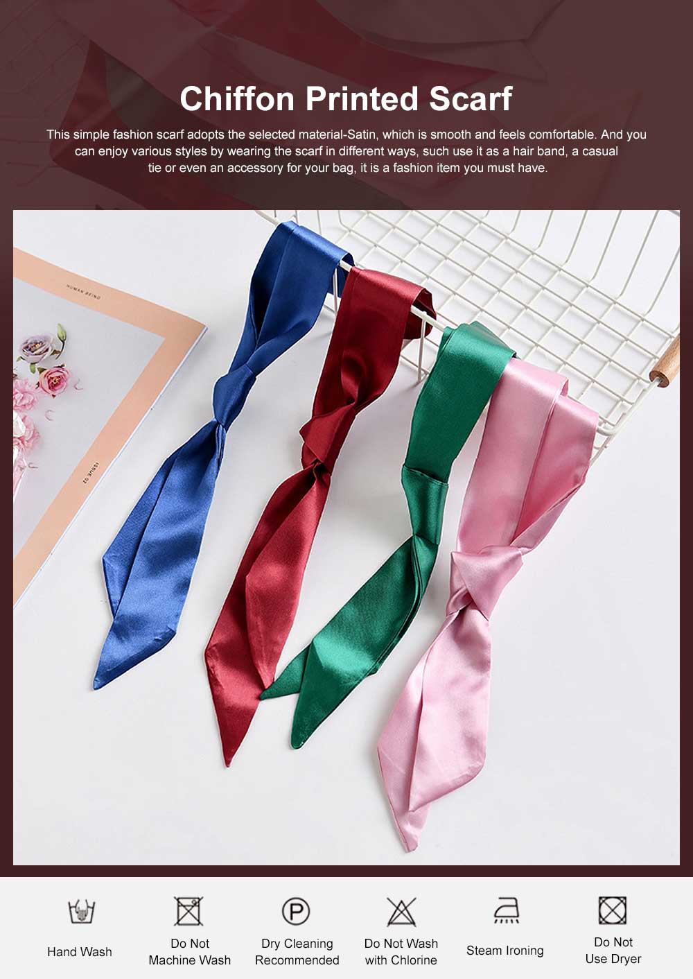 Multiple Uses Scarf for Women Used as Hair Band or Tie, Casual Scarf with Bright Pure Color 0