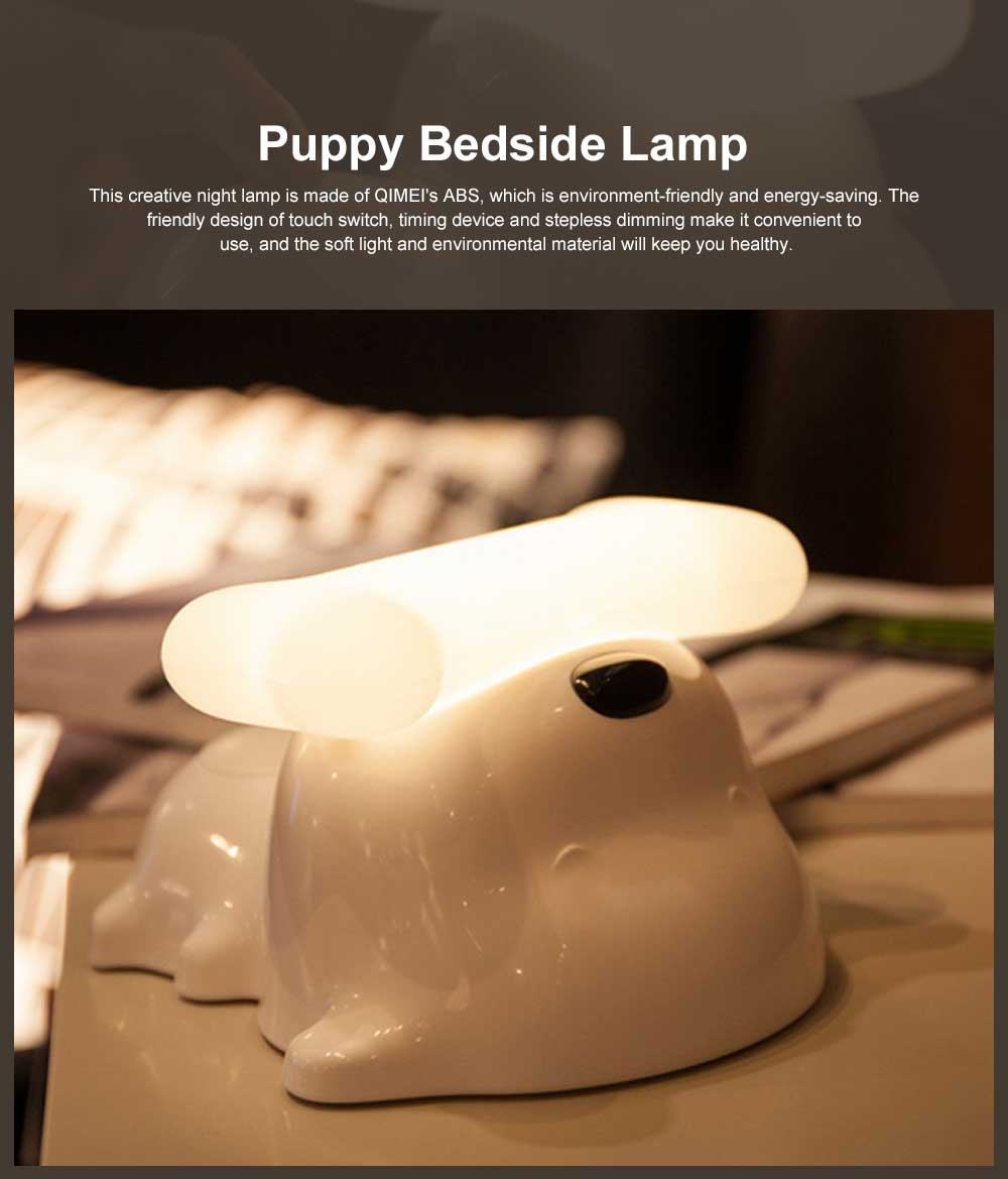 LED Creative Puppy Bedside Lamp with Soft Light, Timing Night Light with USB Port and Stepless Dimming 0