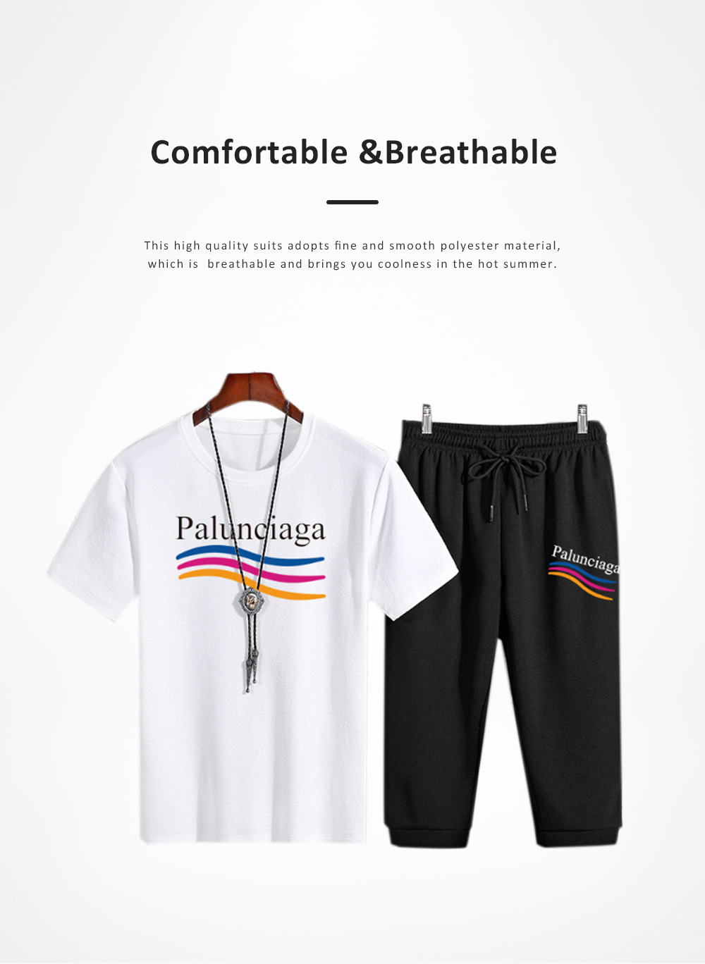 2019 Latest Casual Suit Two Piece Sports Set for Men, High Quality Loose Style Polyester Material Short Sleeve Shirt Capri Pants 2